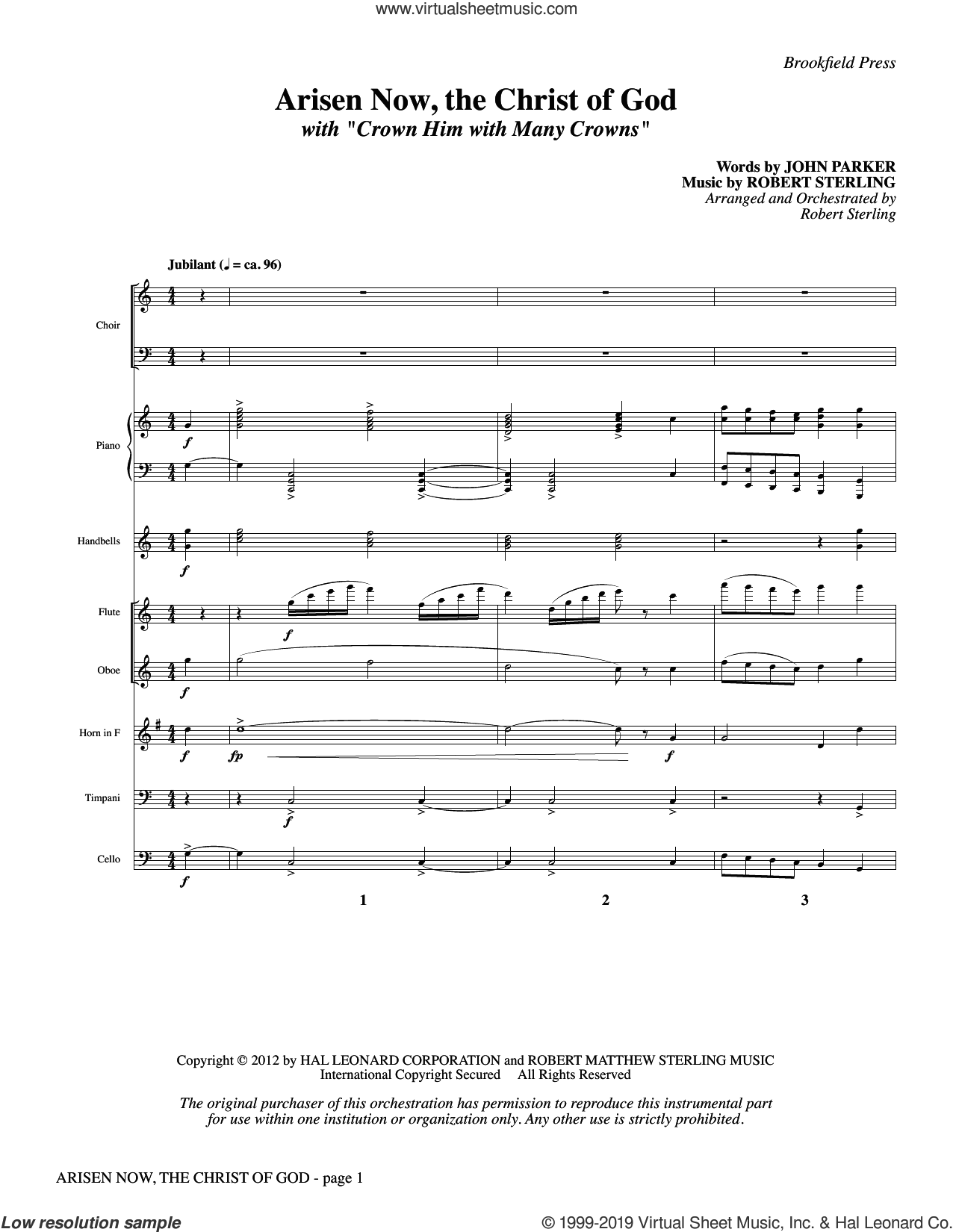 Arisen Now, the Christ of God (with 'Crown Him with Many Crowns') (COMPLETE) sheet music for orchestra/band by John Parker, John Parker and Robert Sterling and Robert Sterling, intermediate skill level