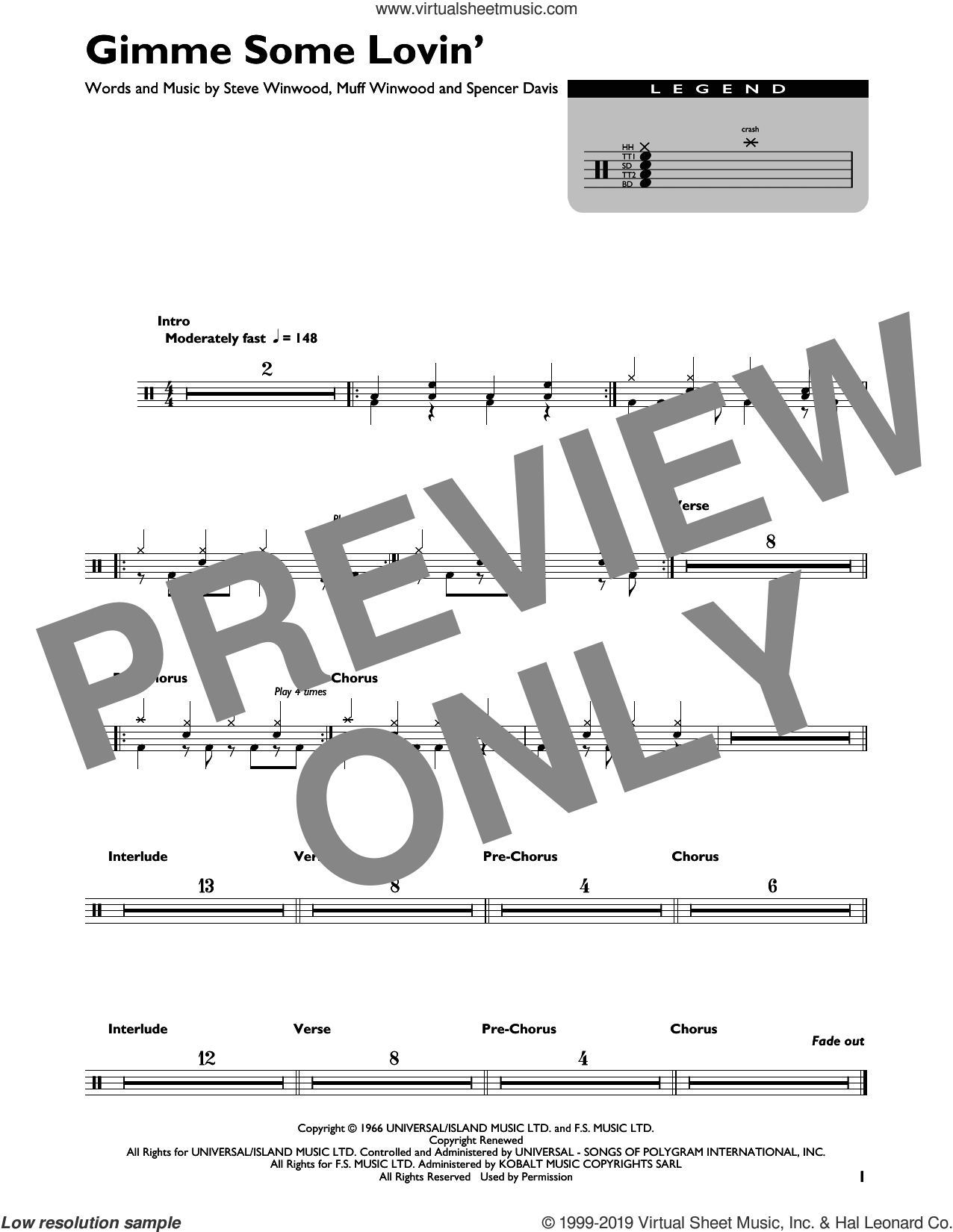 Gimme Some Lovin' sheet music for drums by The Spencer Davis Group, intermediate skill level
