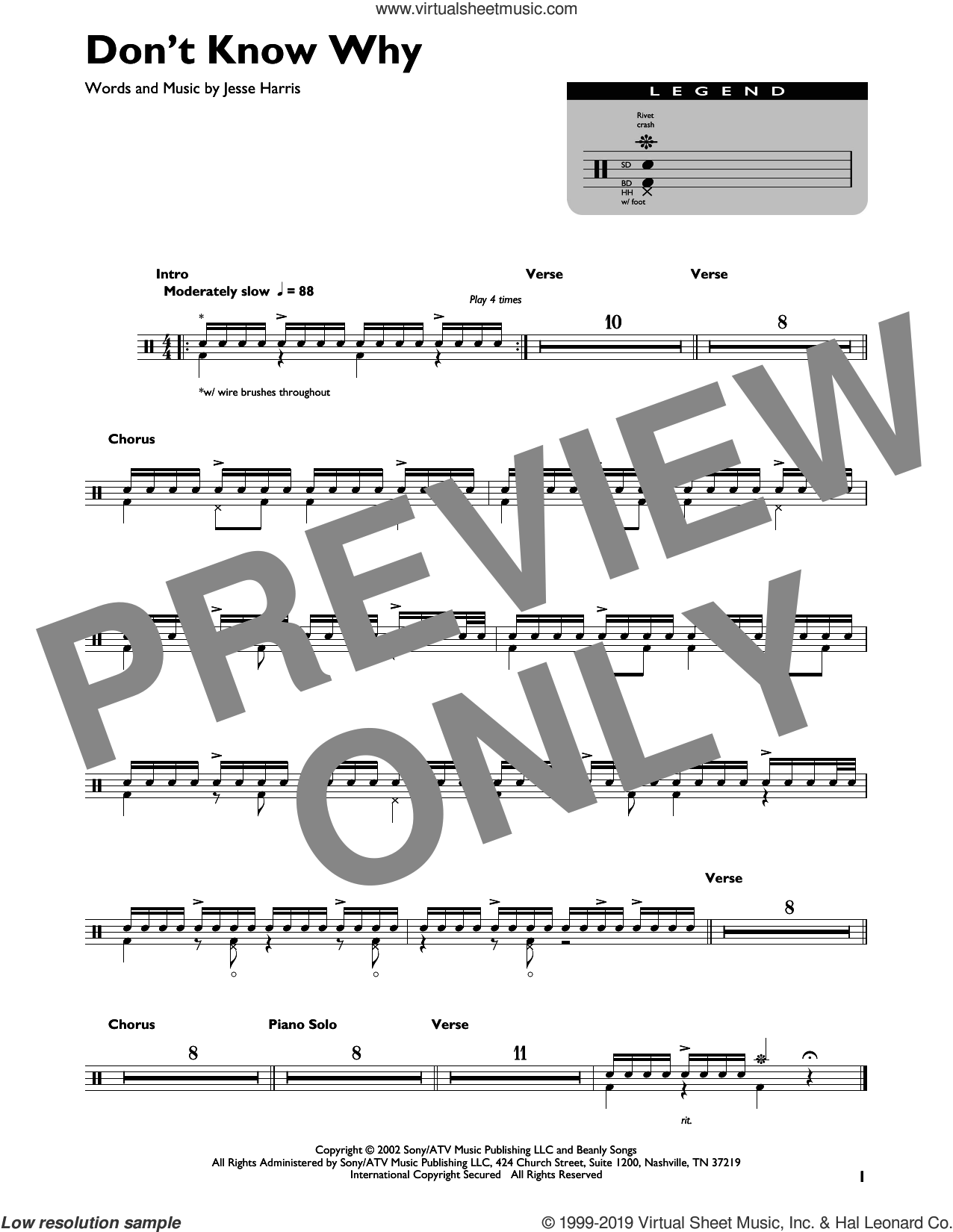 Don't Know Why sheet music for drums by Norah Jones and Jesse Harris, intermediate skill level