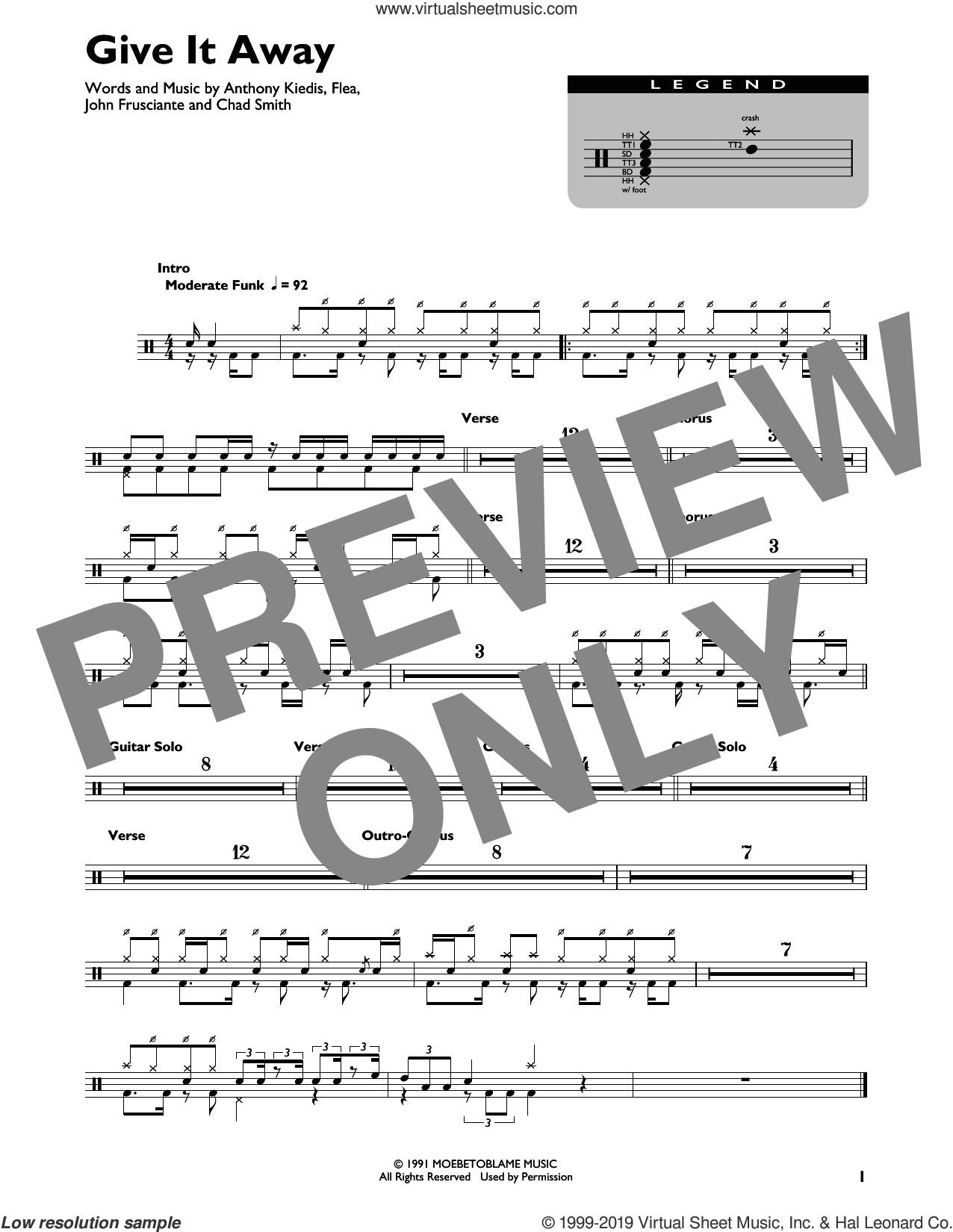 Give It Away sheet music for drums by Red Hot Chili Peppers, Anthony Kiedis, Chad Smith, Flea and John Frusciante, intermediate skill level