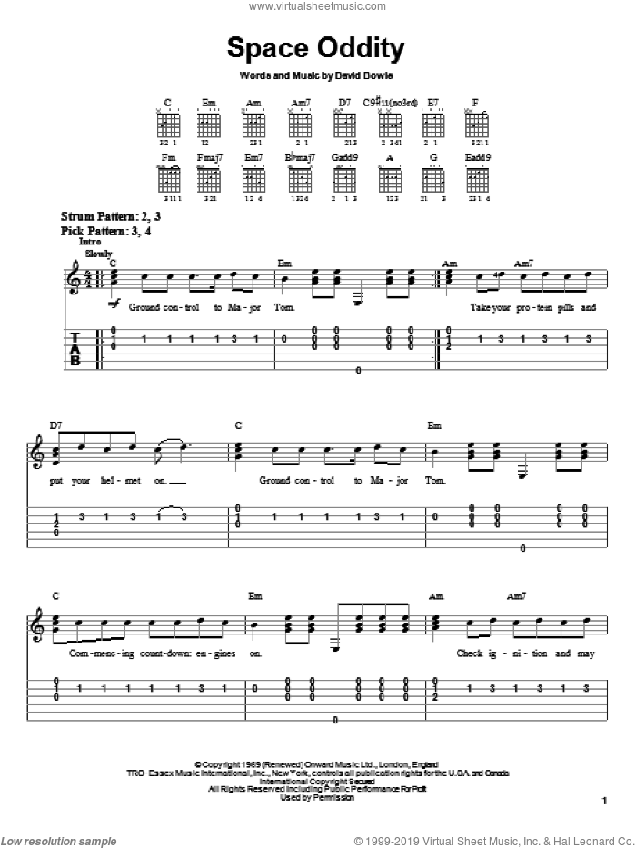 Space Oddity sheet music for guitar solo (chords) by David Bowie, easy guitar (chords). Score Image Preview.