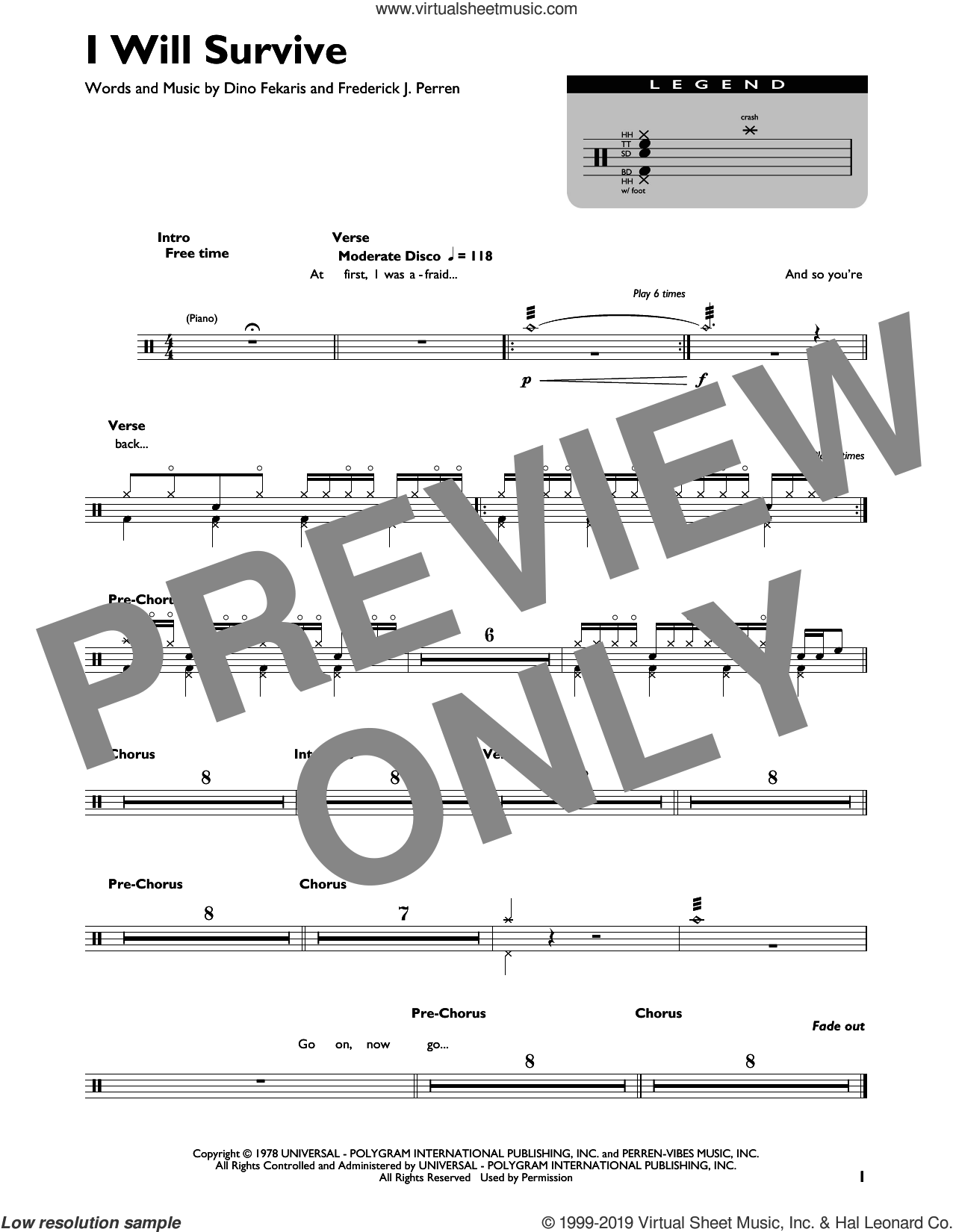 I Will Survive sheet music for drums by Gloria Gaynor, Dino Fekaris and Frederick Perren, intermediate skill level