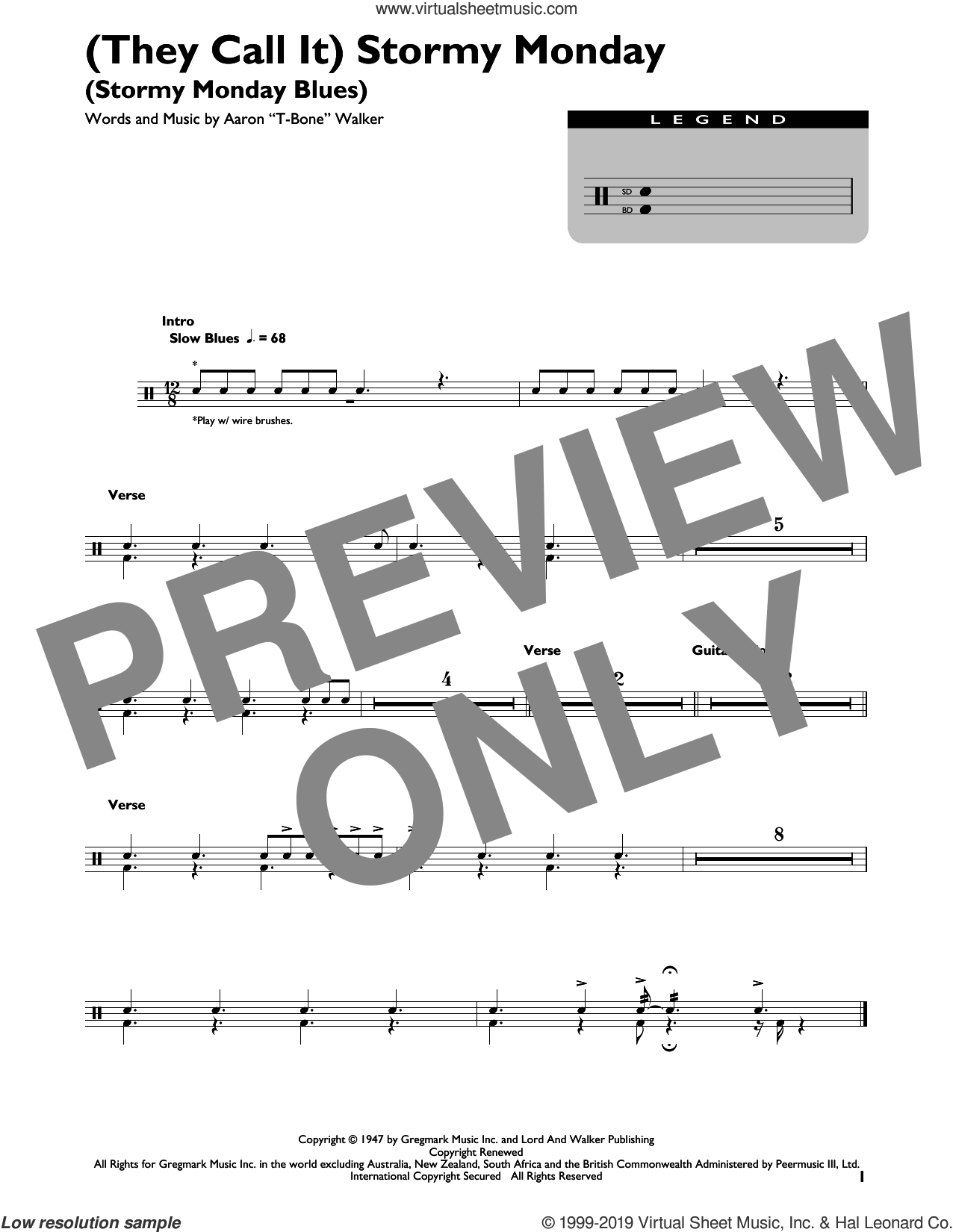(They Call It) Stormy Monday (Stormy Monday Blues) sheet music for drums by Aaron 'T-Bone' Walker, intermediate skill level