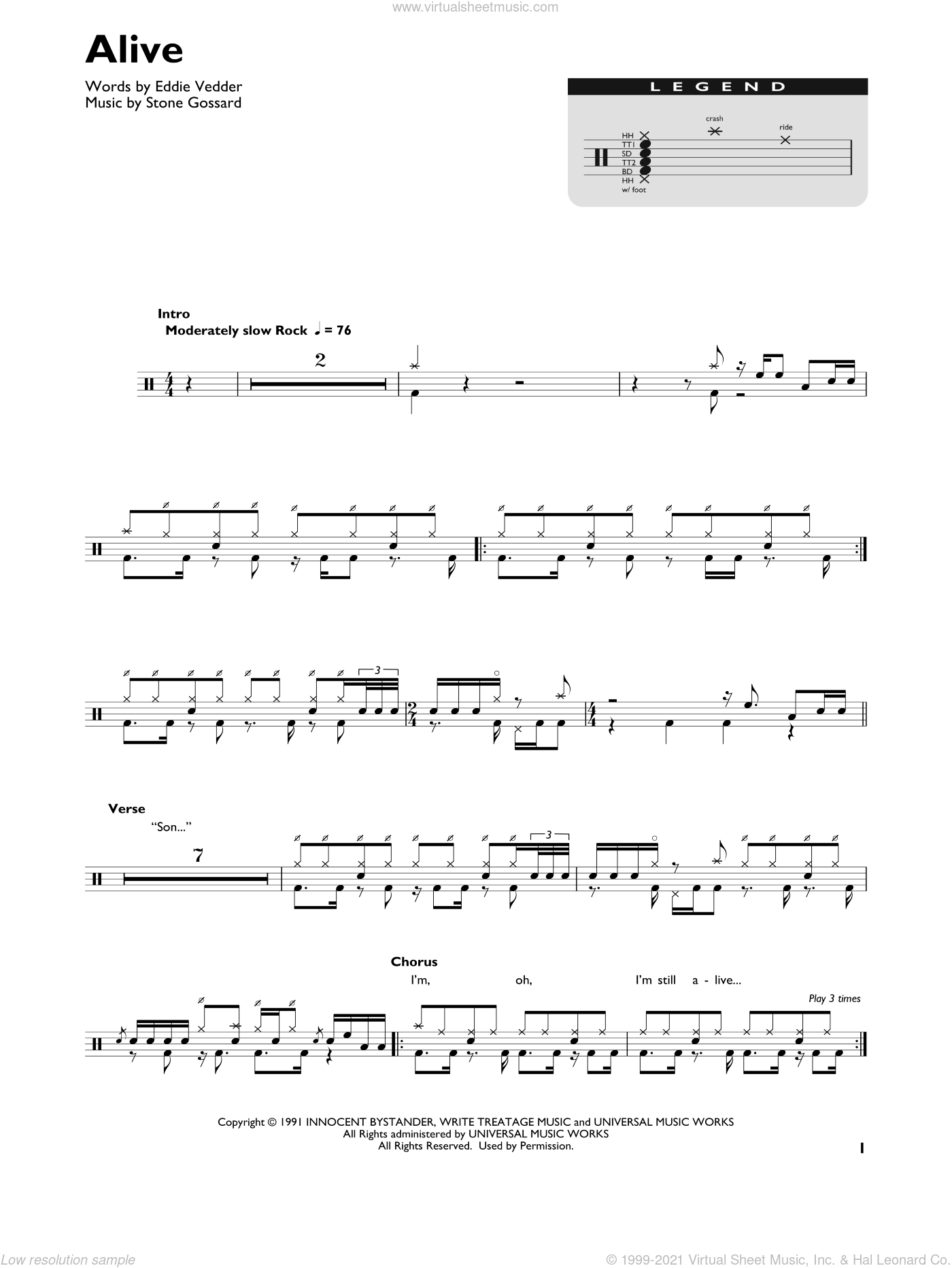 Alive sheet music for drums (percussions) by Pearl Jam, Eddie Vedder and Stone Gossard, intermediate skill level