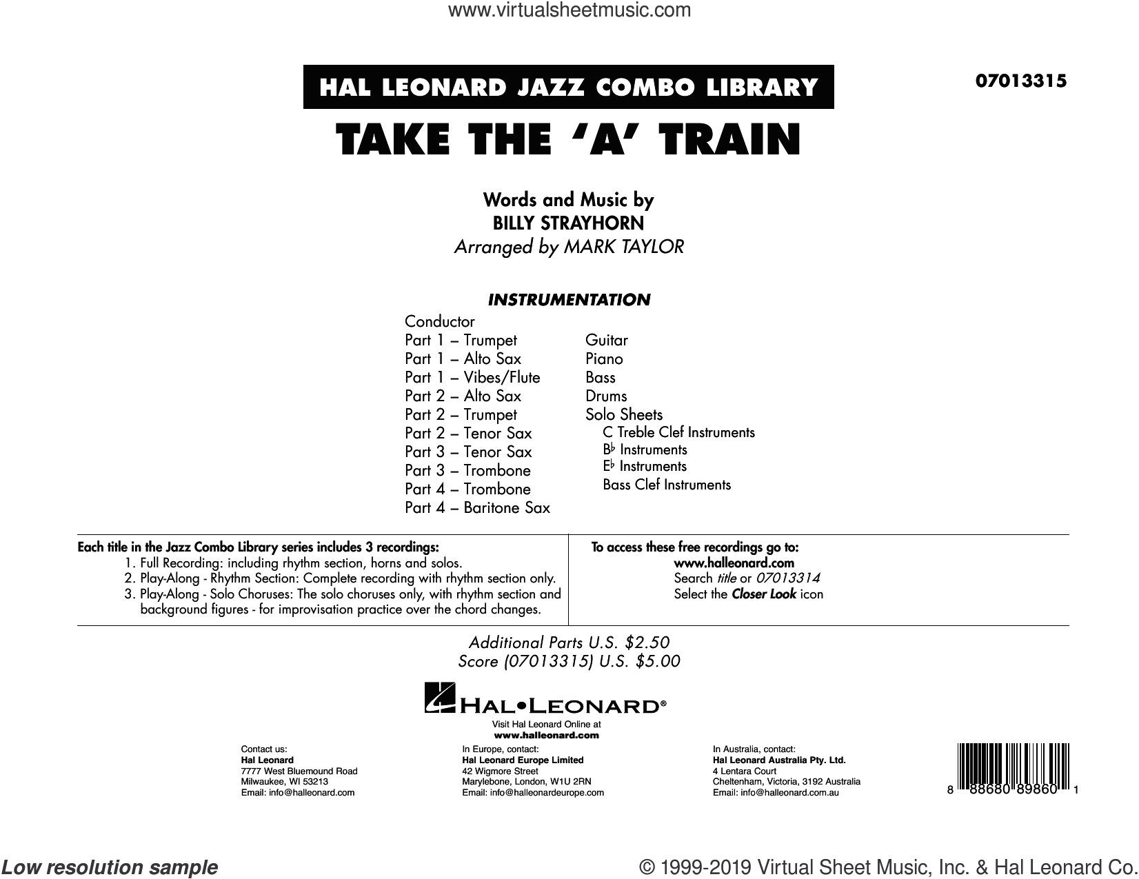 Take The 'A' Train (arr. Mark Taylor) (COMPLETE) sheet music for jazz band by Duke Ellington, Billy Strayhorn and Mark Taylor, intermediate skill level
