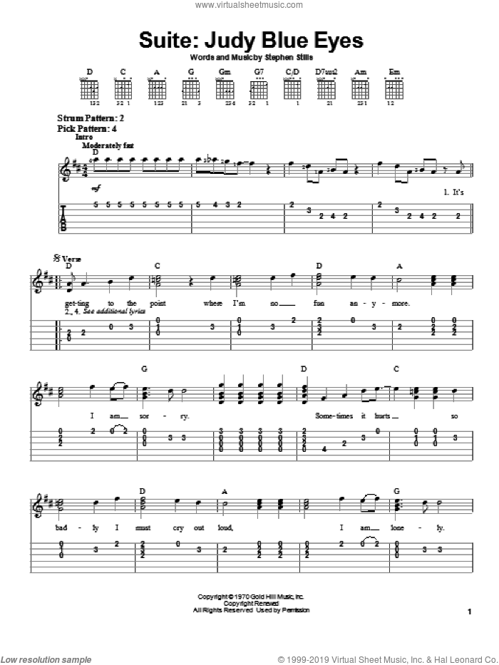 Suite: Judy Blue Eyes sheet music for guitar solo (chords) by Crosby, Stills & Nash and Stephen Stills, easy guitar (chords)