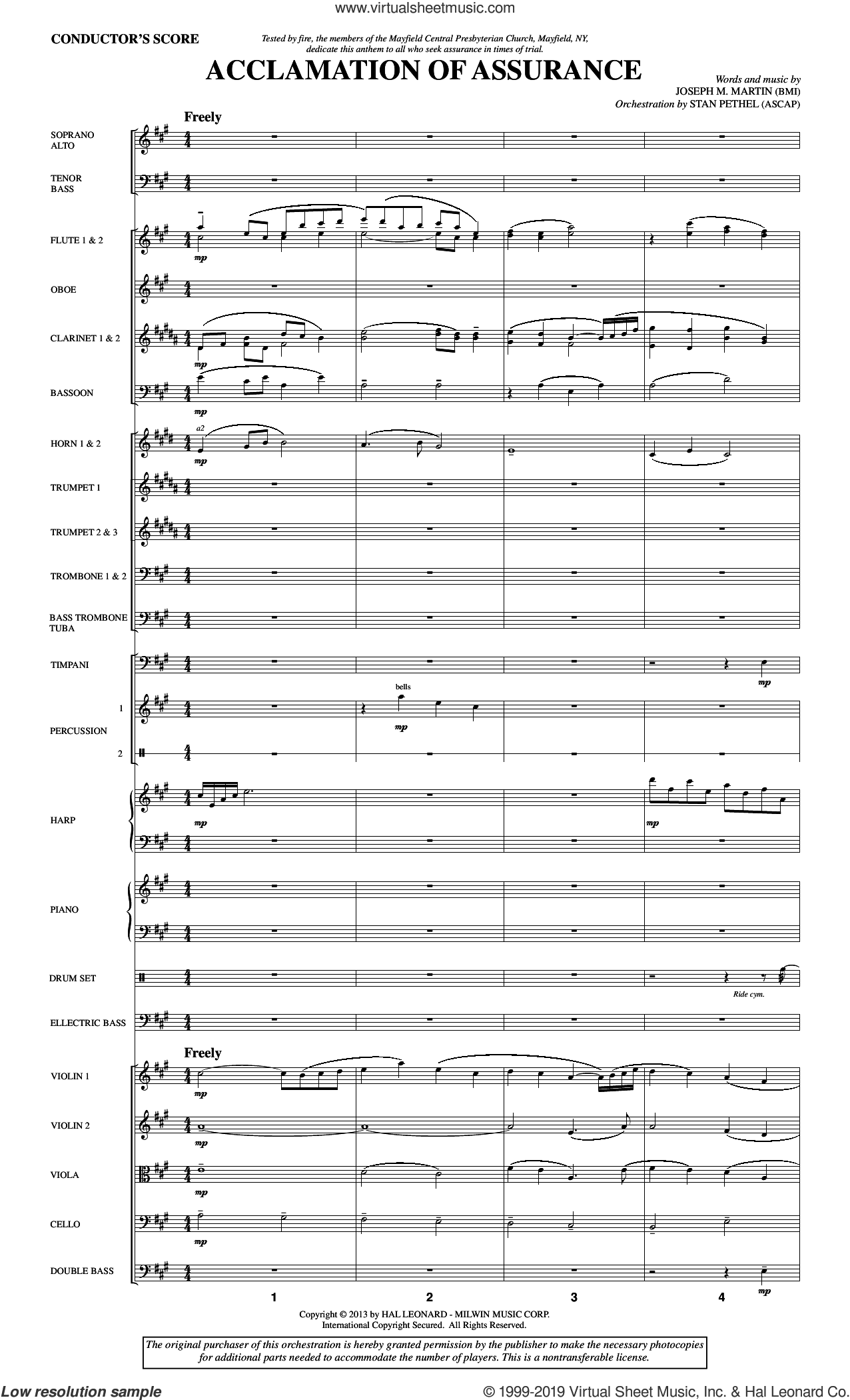 Acclamation of Assurance (COMPLETE) sheet music for orchestra/band by Joseph M. Martin, intermediate skill level
