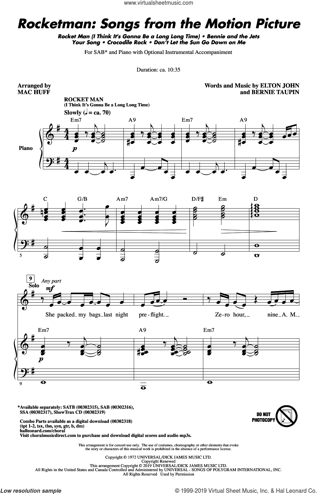 Rocketman: Songs from the Motion Picture (arr. Mac Huff) sheet music for choir (SAB: soprano, alto, bass) by Elton John, Mac Huff and Bernie Taupin, intermediate skill level