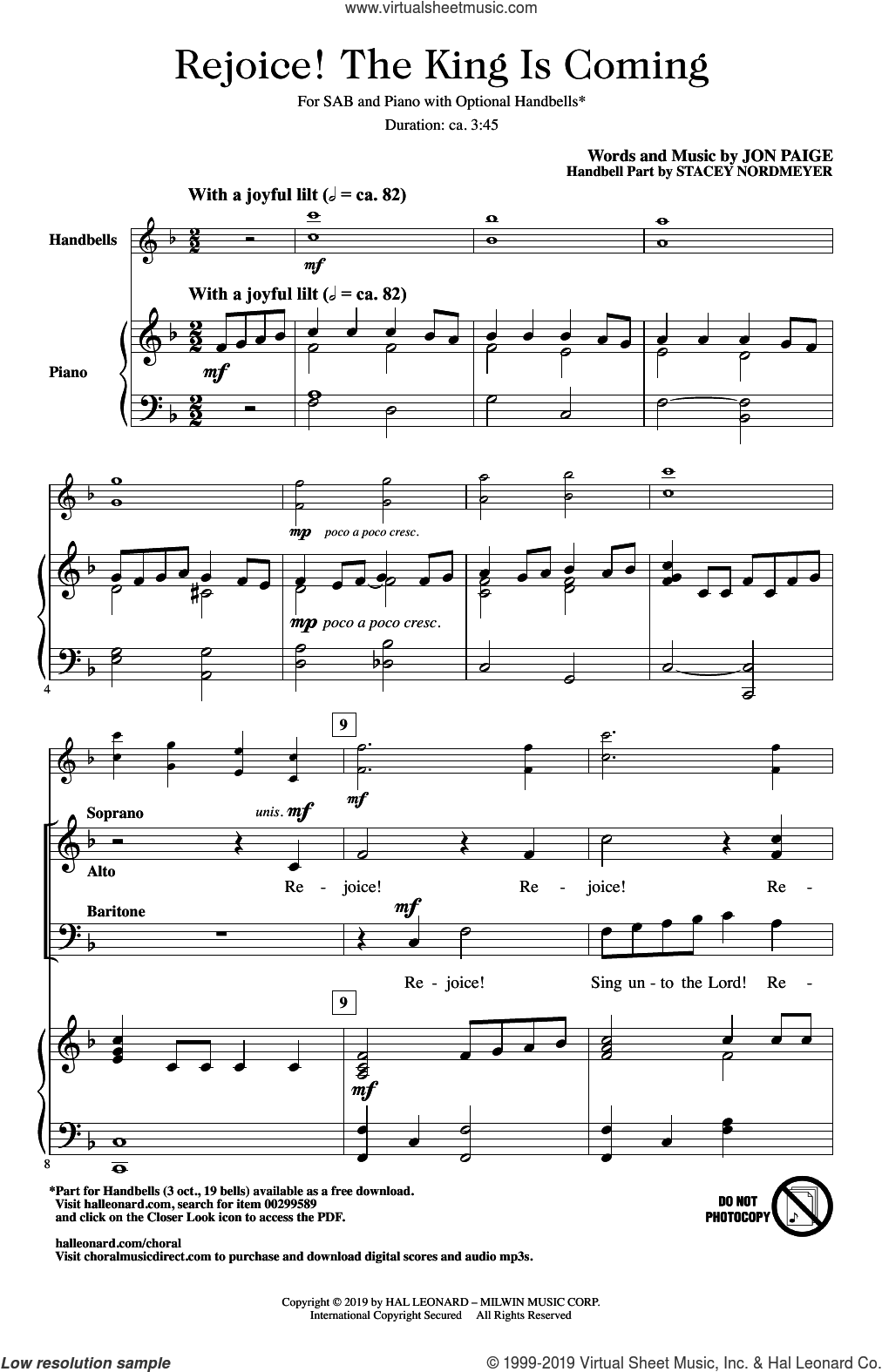Rejoice! The King Is Coming sheet music for choir (SAB: soprano, alto, bass) by Jon Paige, intermediate skill level
