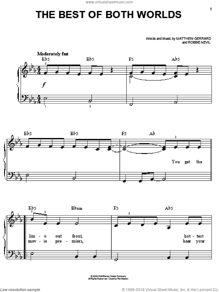 The Best Of Both Worlds sheet music for piano solo by Hannah Montana, Hannah Montana (Movie), Miley Cyrus, Matthew Gerrard and Robbie Nevil, easy. Score Image Preview.