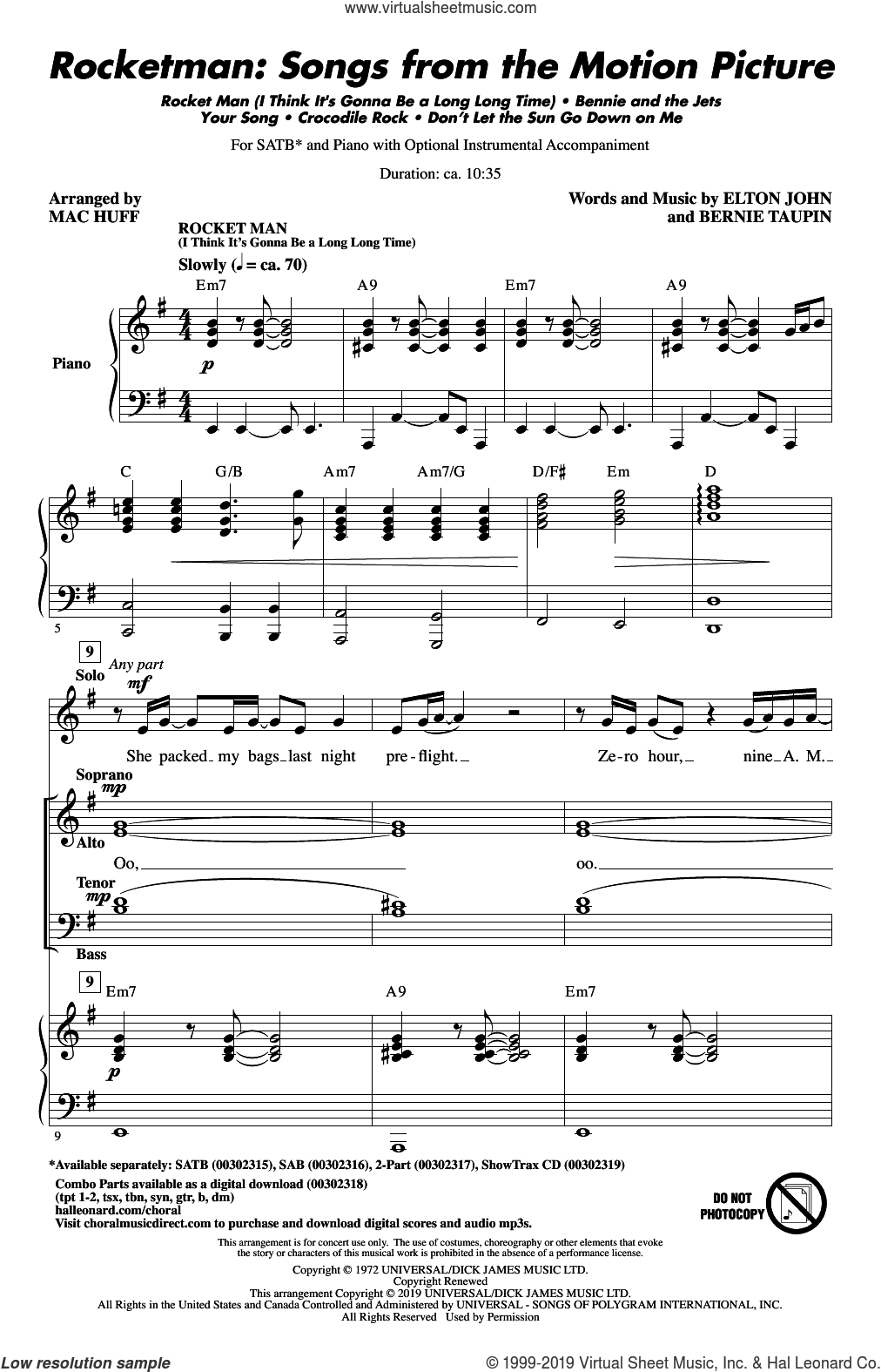 Rocketman: Songs from the Motion Picture (arr. Mac Huff) sheet music for choir (SATB: soprano, alto, tenor, bass) by Elton John, Mac Huff and Bernie Taupin, intermediate skill level