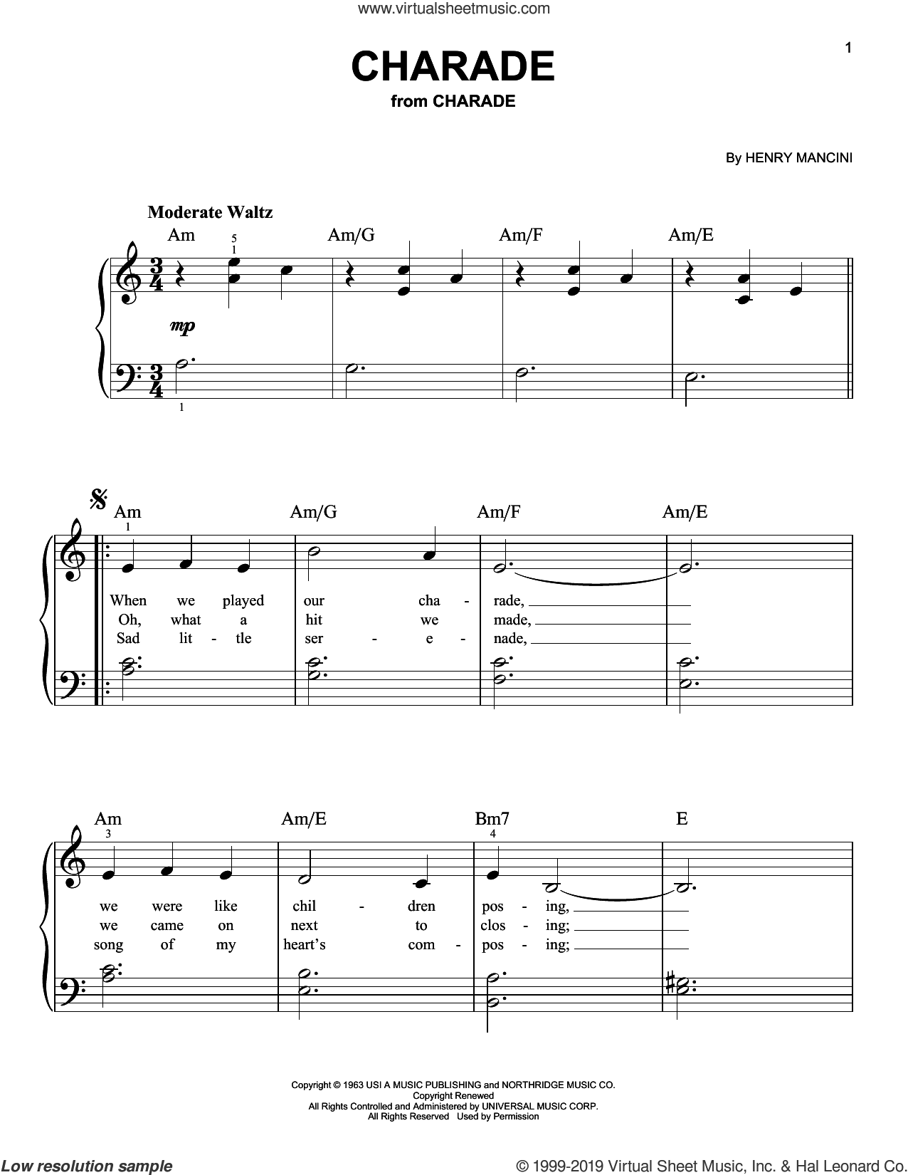 Charade (from Charade) sheet music for piano solo by Johnny Mercer and Henry Mancini, beginner skill level
