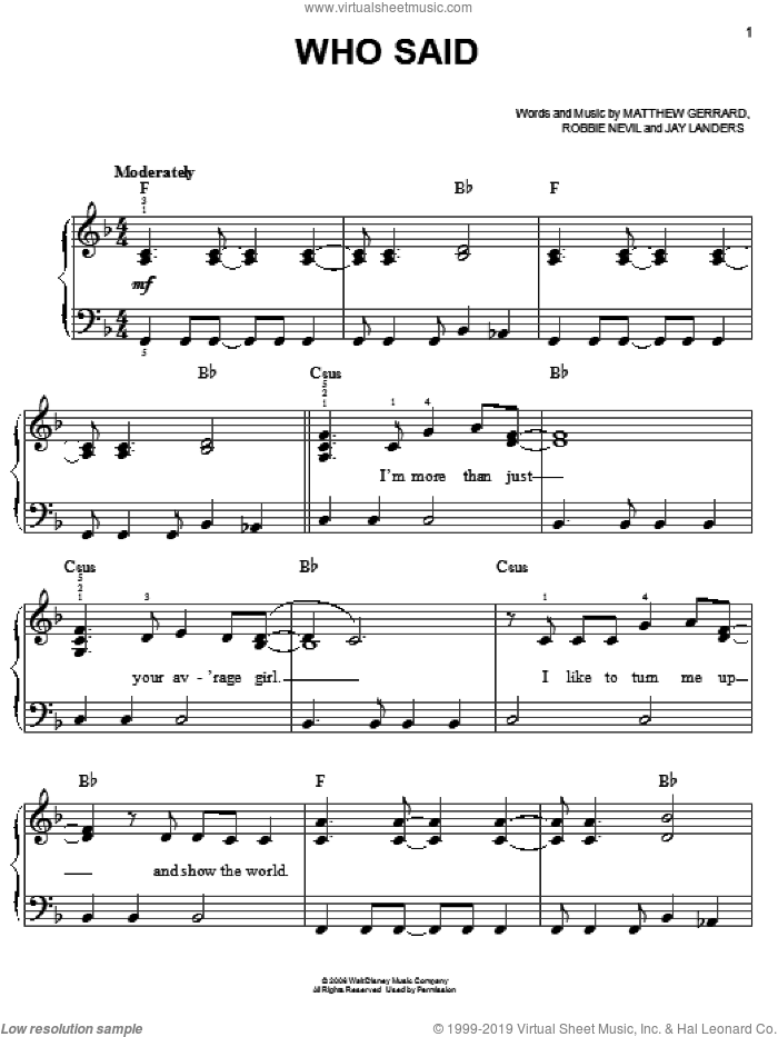 Who Said sheet music for piano solo by Hannah Montana, Miley Cyrus, Jay Landers, Matthew Gerrard and Robbie Nevil, easy skill level