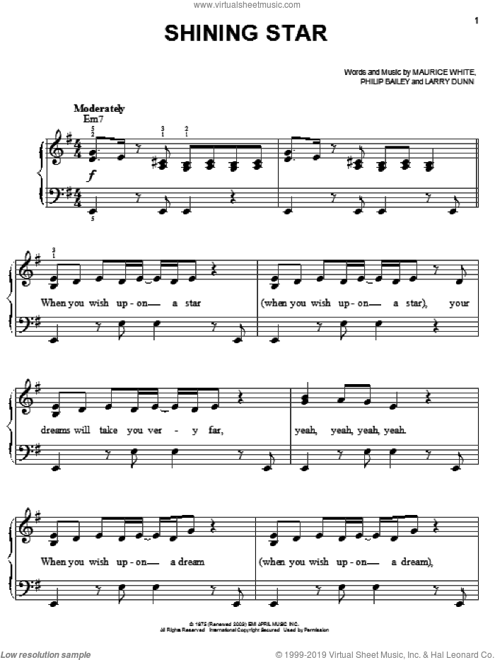 Shining Star sheet music for piano solo by B Five, Earth, Wind & Fire, Hannah Montana, Yolanda Adams, Larry Dunn, Maurice White and Philip Bailey, easy skill level