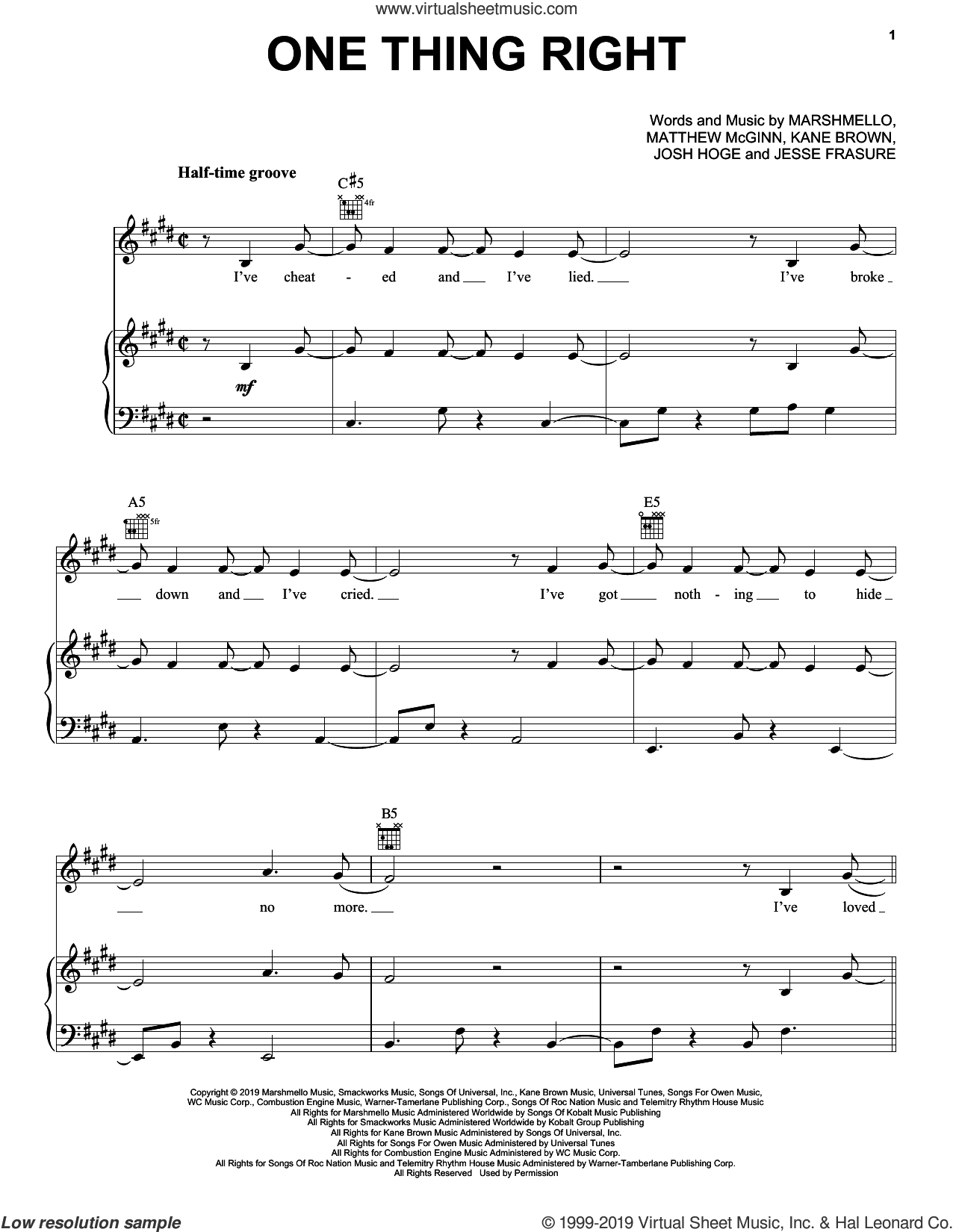 One Thing Right sheet music for voice, piano or guitar by Marshmello & Kane Brown, Jesse Frasure, Josh Hoge, Kane Brown, Marshmello and Matthew McGinn, intermediate skill level