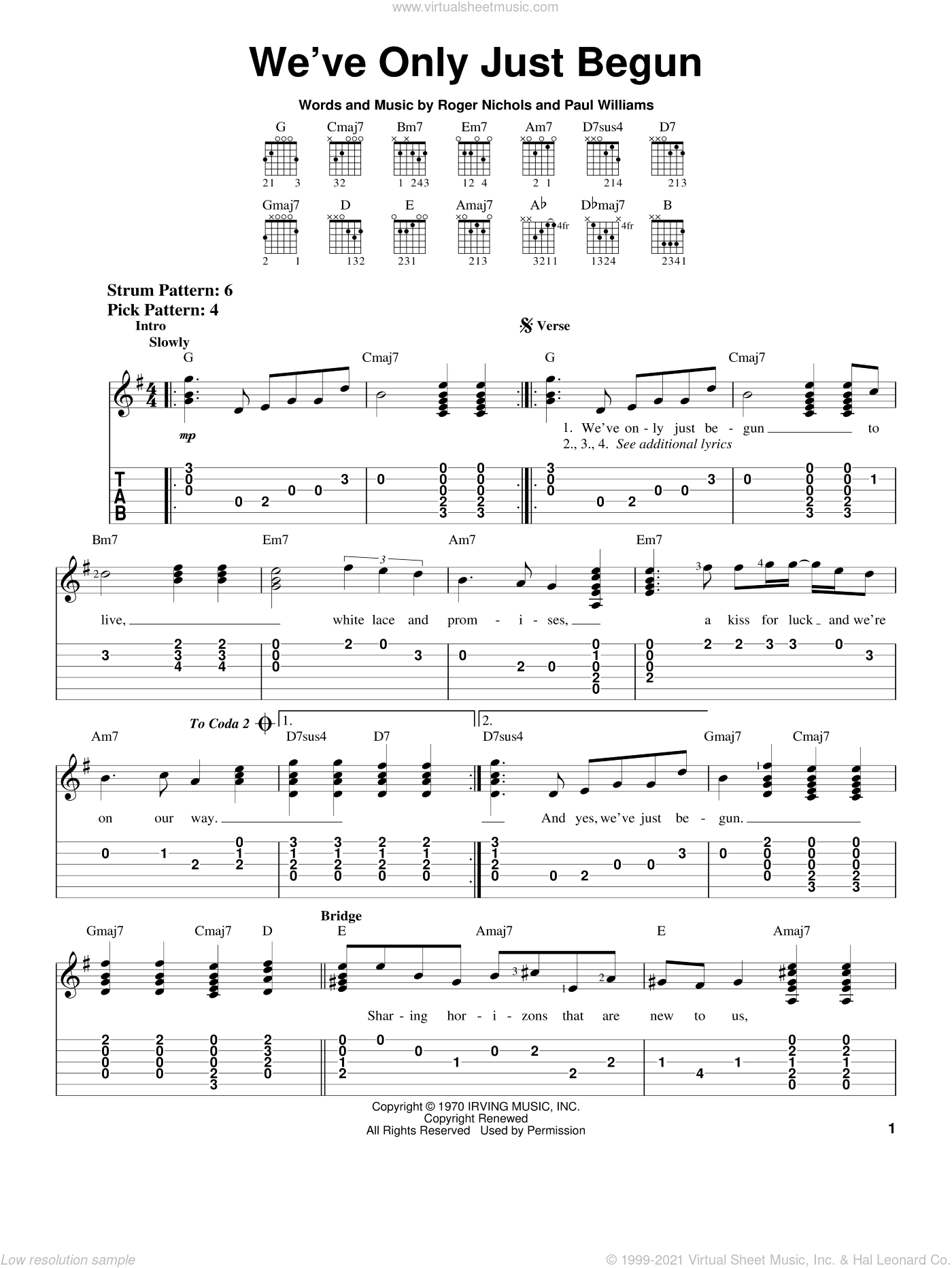 We've Only Just Begun sheet music for guitar solo (chords) by Carpenters, Paul Williams and Roger Nichols, wedding score, easy guitar (chords)