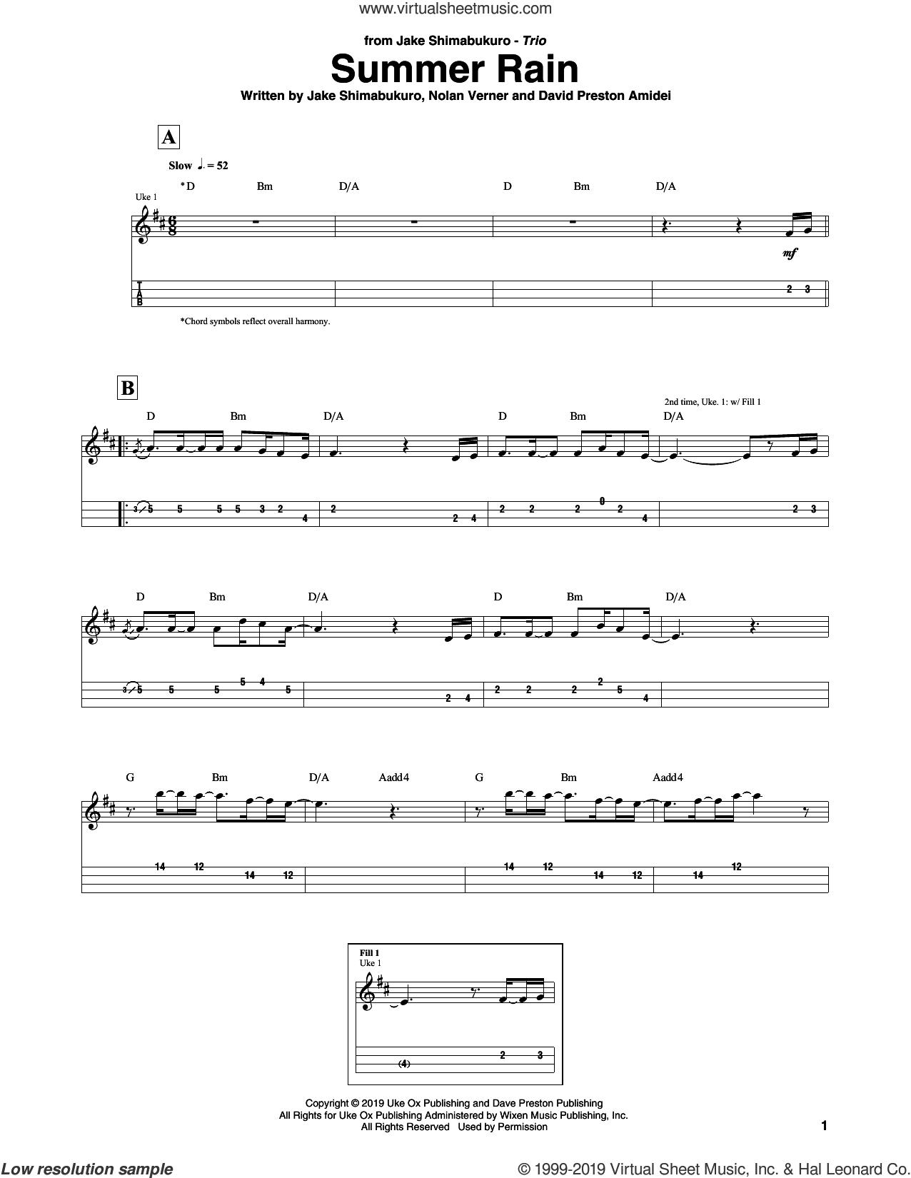 Summer Rain sheet music for ukulele (tablature) by Jake Shimabukuro Trio, David Preston Amidei, Jake Shimabukuro and Nolan Verner, intermediate skill level