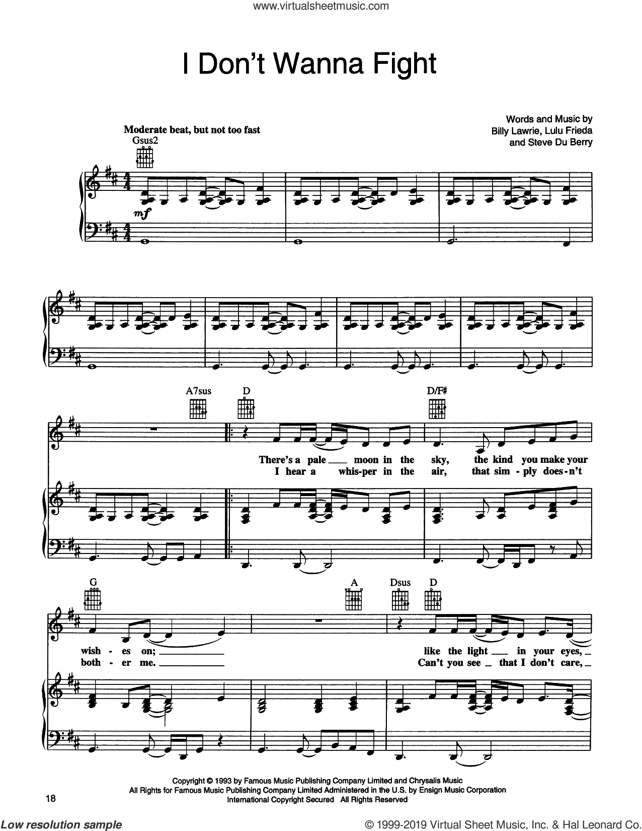 I Don't Wanna Fight sheet music for voice, piano or guitar by Tina Turner, Billy Lawrie, Lulu Frieda and Steve Du Berry, intermediate skill level