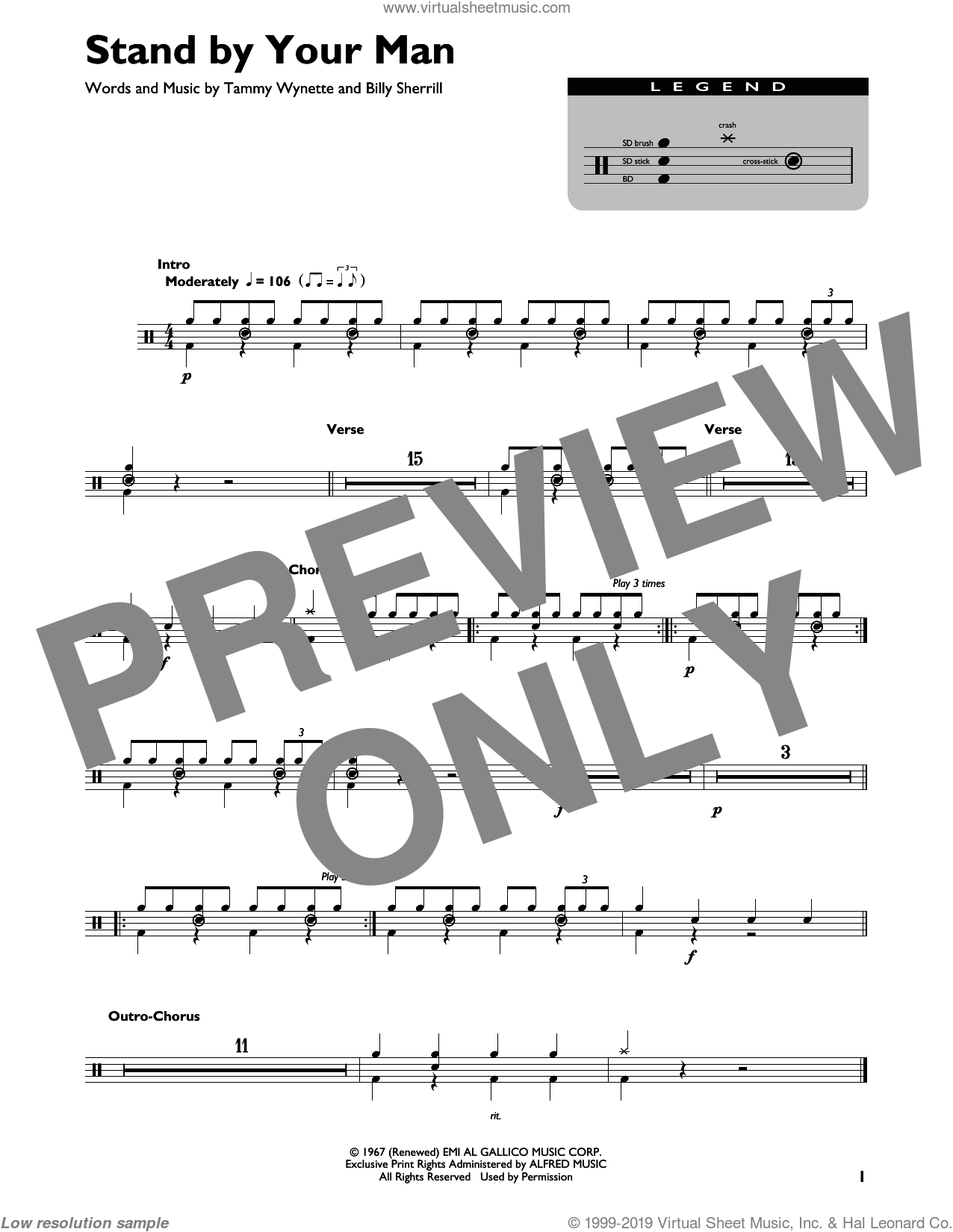 Stand By Your Man sheet music for drums by Tammy Wynette and Billy Sherrill, intermediate skill level