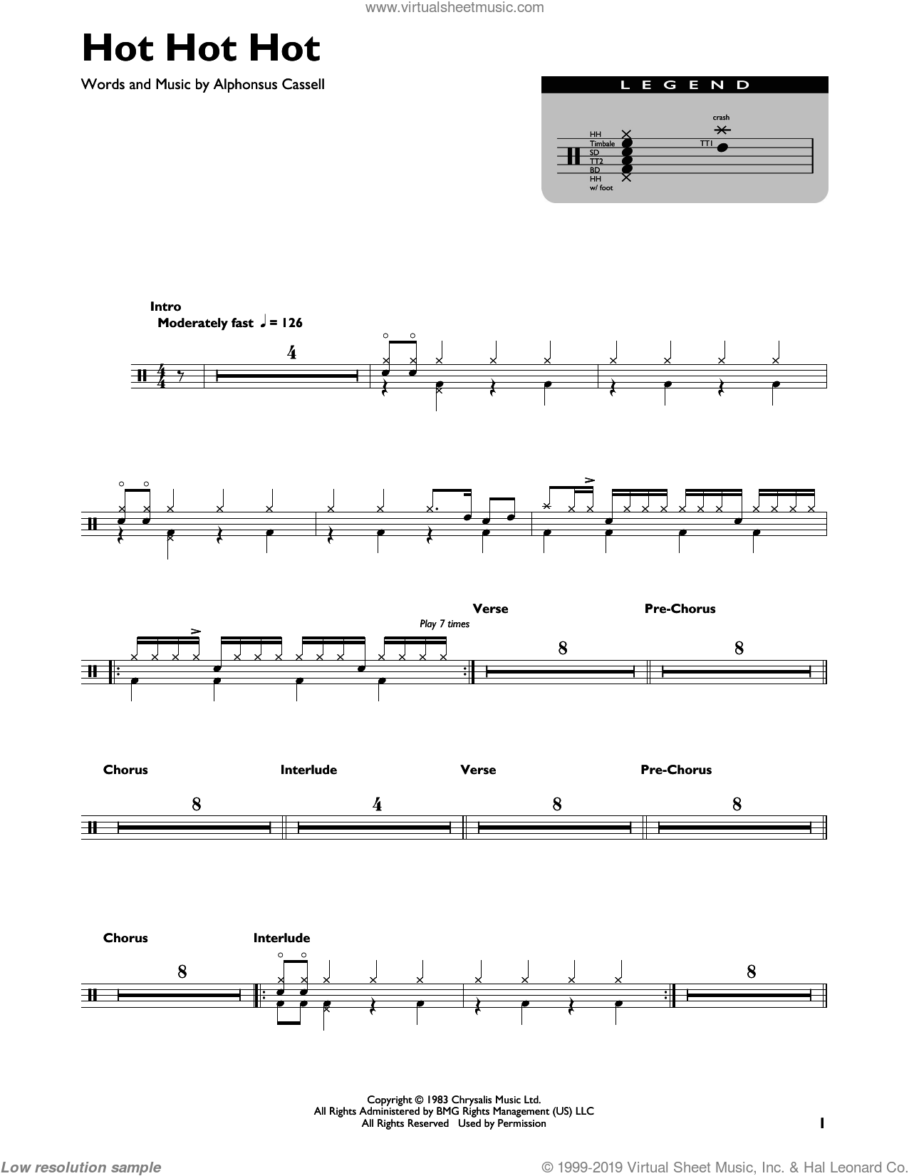Hot Hot Hot sheet music for drums by Buster Poindexter and His Banshees of Blue and Alphonsus Cassell, intermediate skill level