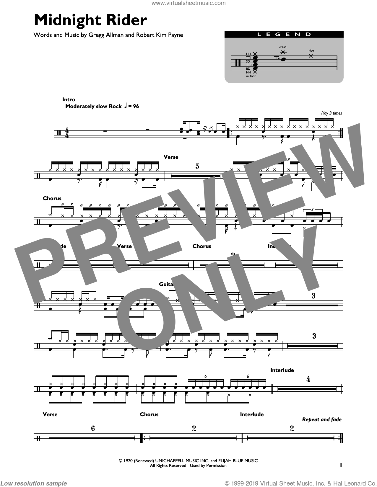 Midnight Rider sheet music for drums by The Allman Brothers Band, Gregg Allman and Robert Kim Payne, intermediate skill level