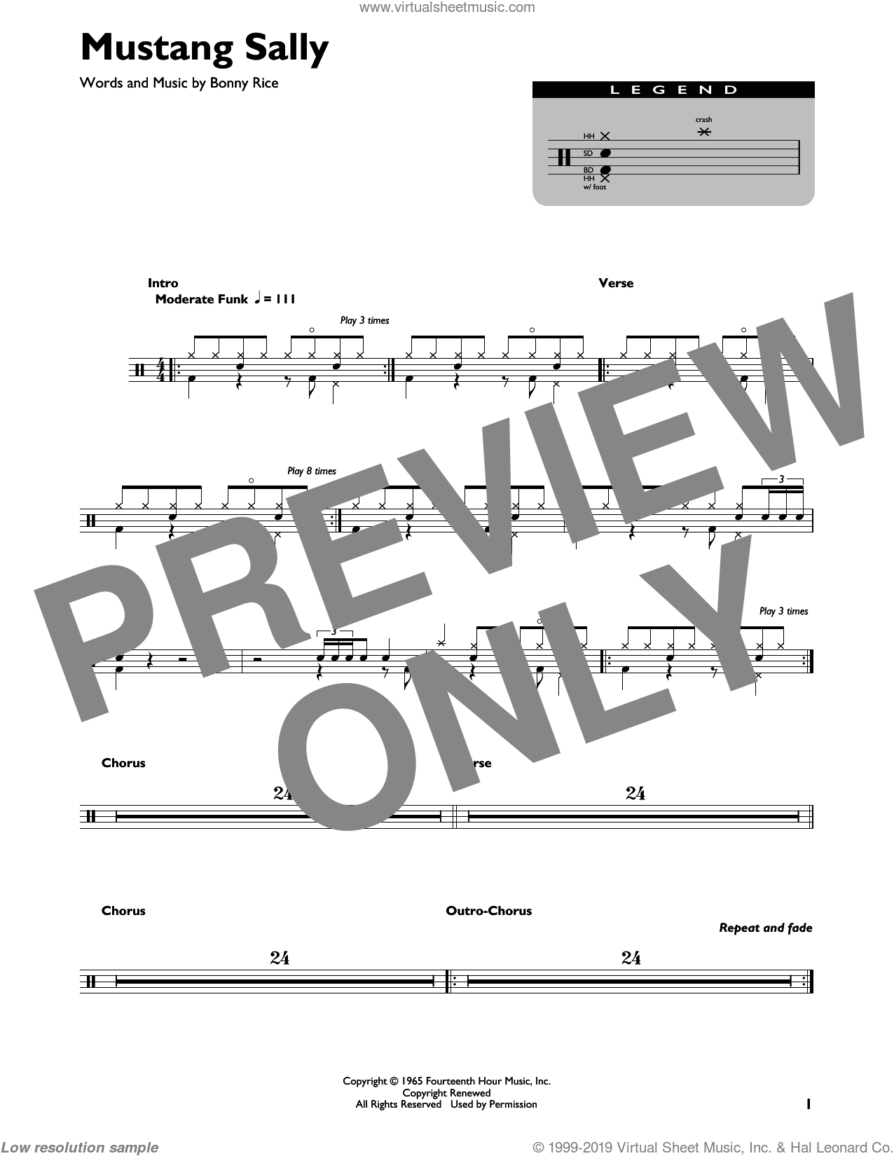 Mustang Sally sheet music for drums by Wilson Pickett and Bonny Rice, intermediate skill level