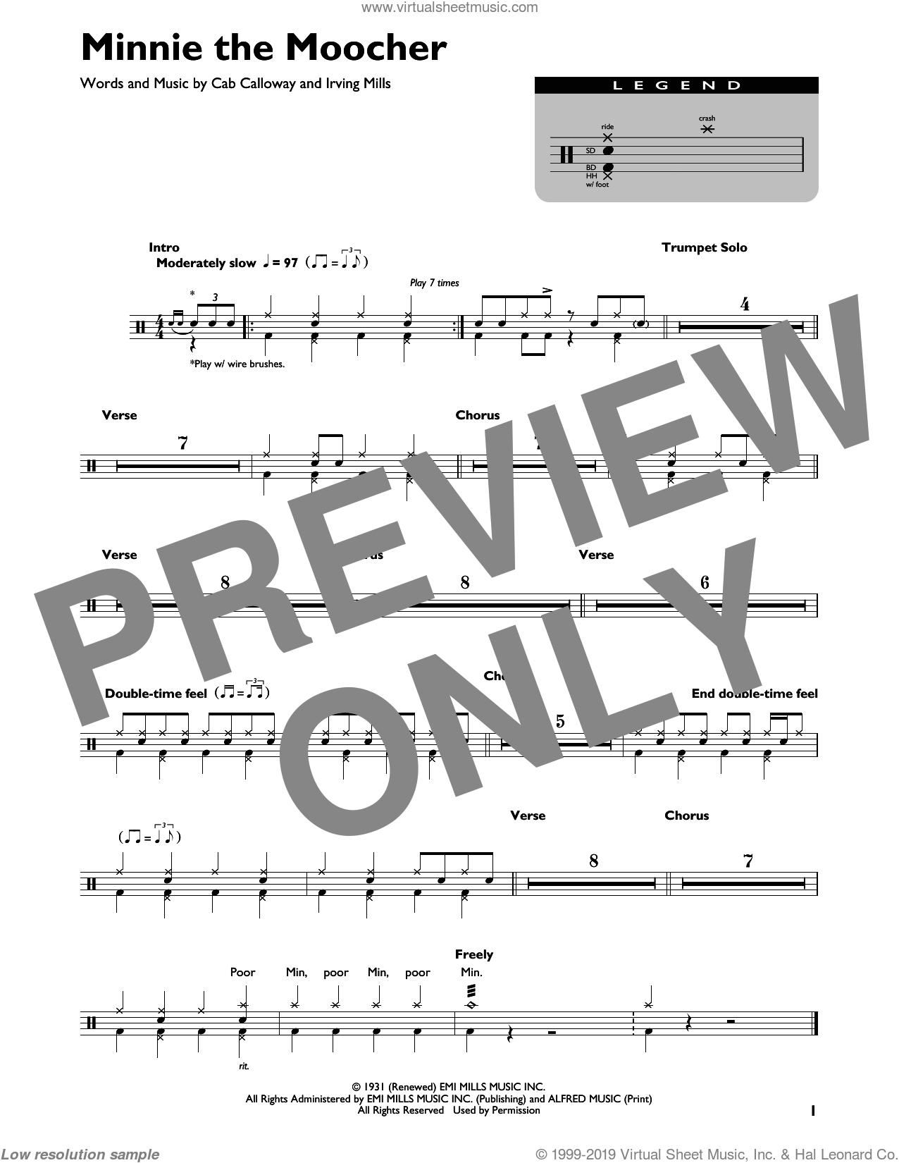 Minnie The Moocher sheet music for drums by Cab Calloway and Irving Mills, intermediate skill level