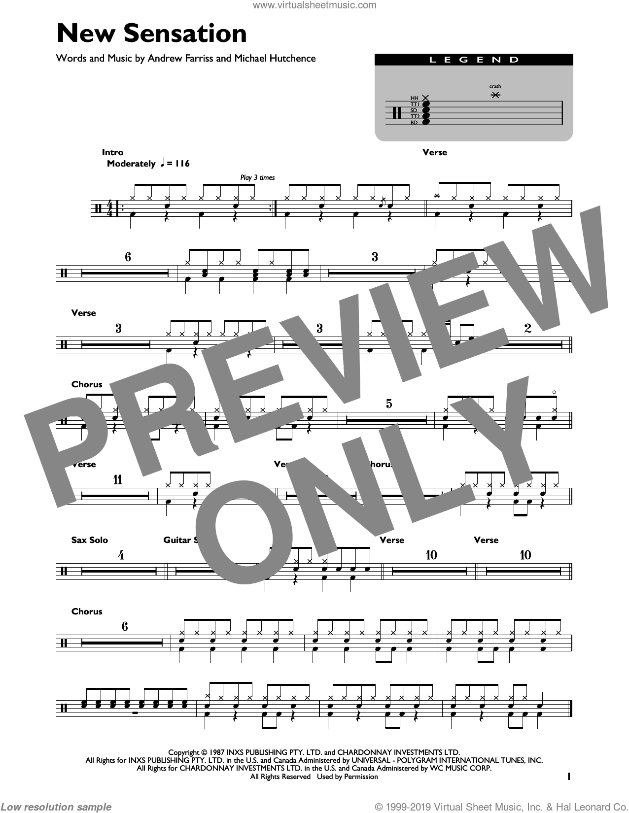 New Sensation sheet music for drums (percussions) by INXS, Andrew Farriss and Michael Hutchence, intermediate skill level