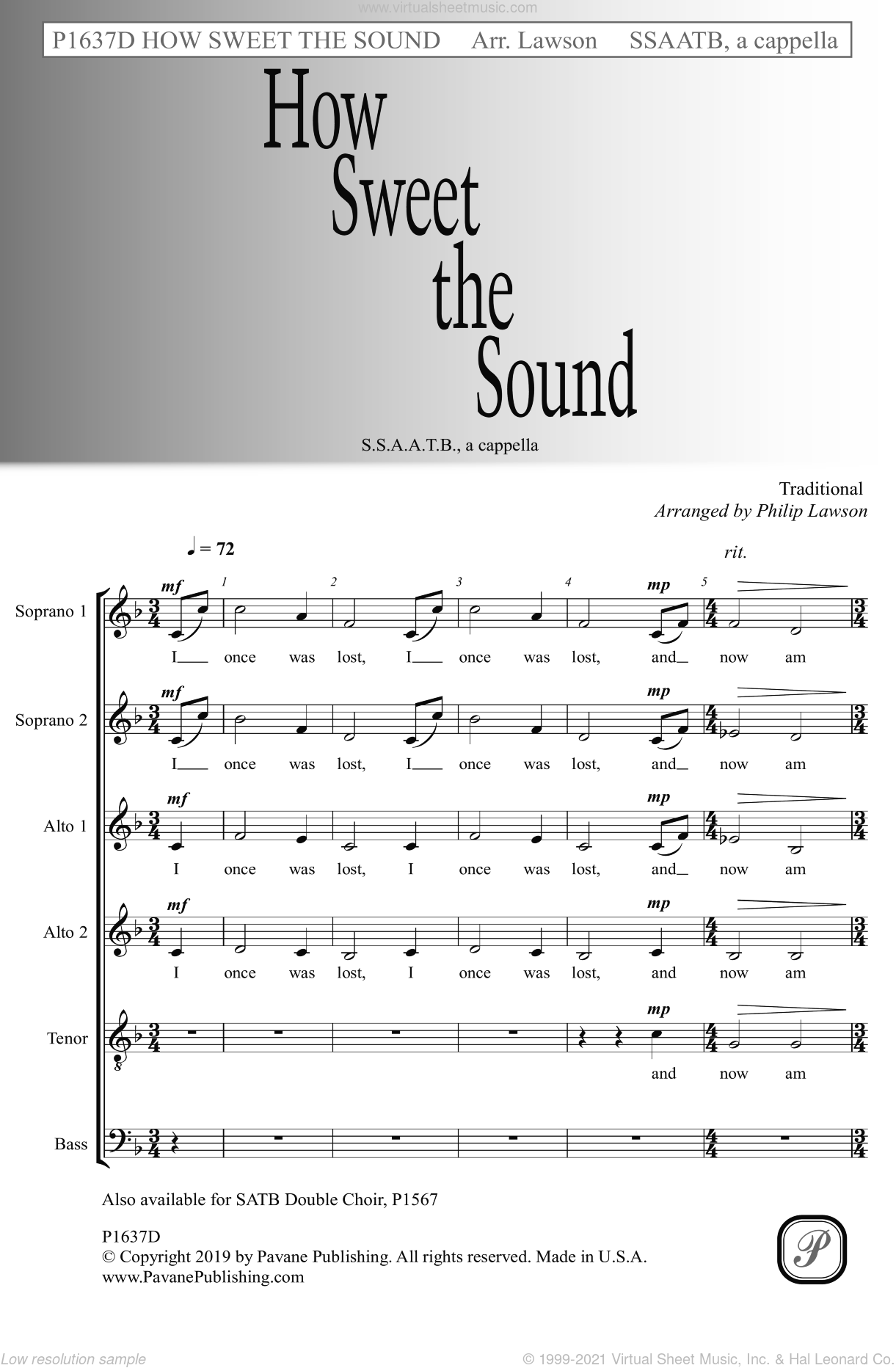 How Sweet the Sound (arr. Philip Lawson) sheet music for choir (SSAATB)  and Philip Lawson, intermediate skill level