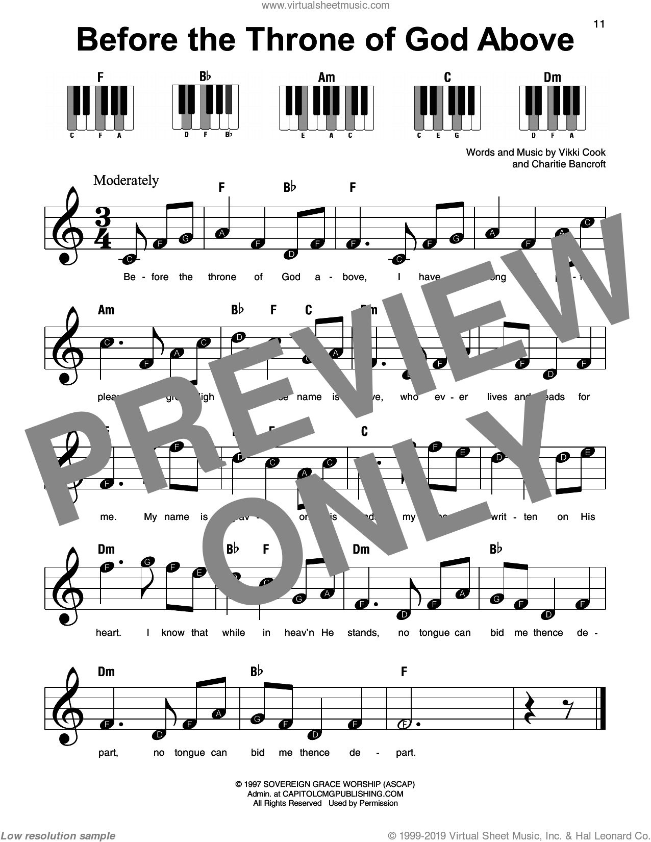 Before The Throne Of God Above sheet music for piano solo by Shane & Shane, Charitie Bancroft and Vikki Cook, beginner skill level