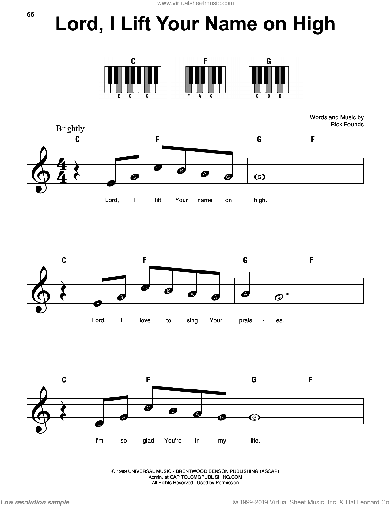 Lord, I Lift Your Name On High sheet music for piano solo by Rick Founds, beginner skill level