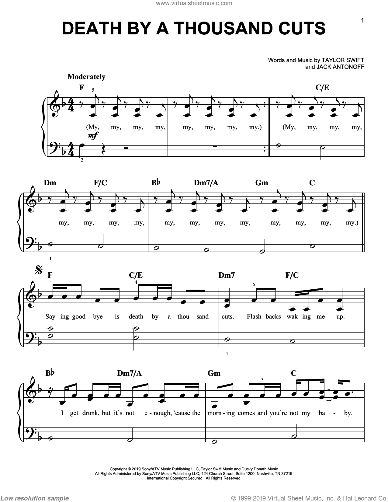 Death By A Thousand Cuts sheet music for piano solo by Taylor Swift and Jack Antonoff, easy skill level