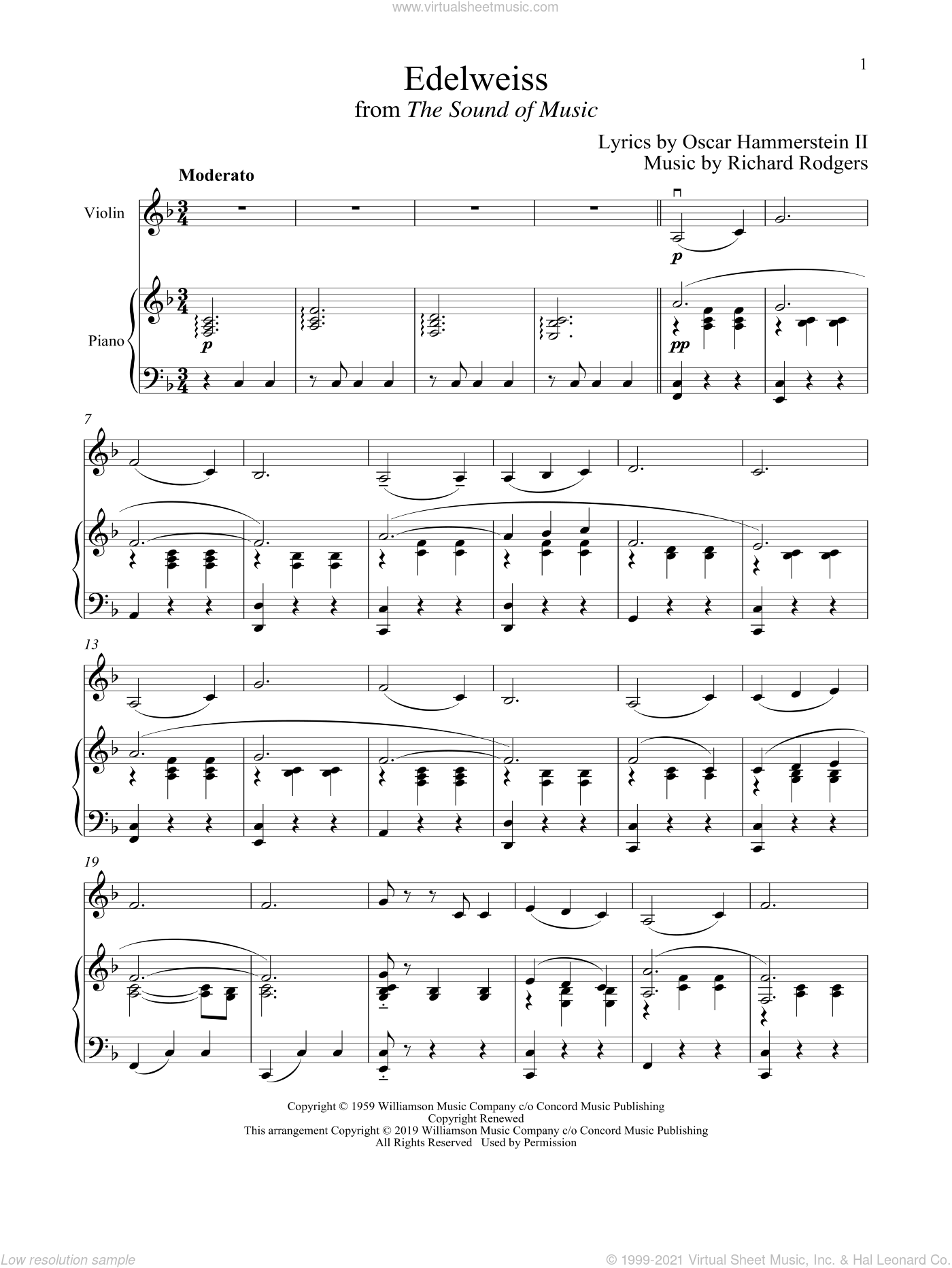 Edelweiss (from The Sound of Music) sheet music for violin and piano by Richard Rodgers, Oscar II Hammerstein and Rodgers & Hammerstein, intermediate skill level