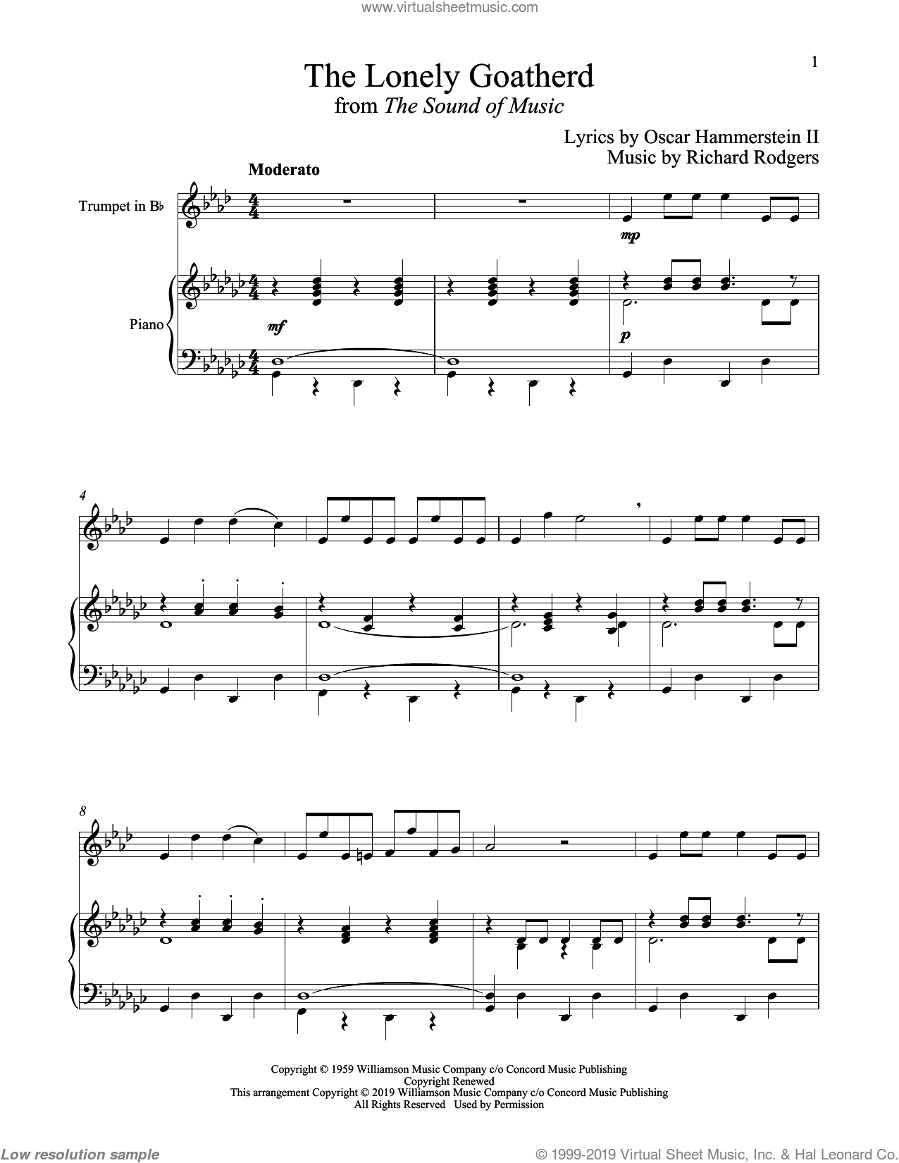 The Lonely Goatherd (from The Sound of Music) sheet music for trumpet and piano by Richard Rodgers, Oscar II Hammerstein and Rodgers & Hammerstein, intermediate skill level
