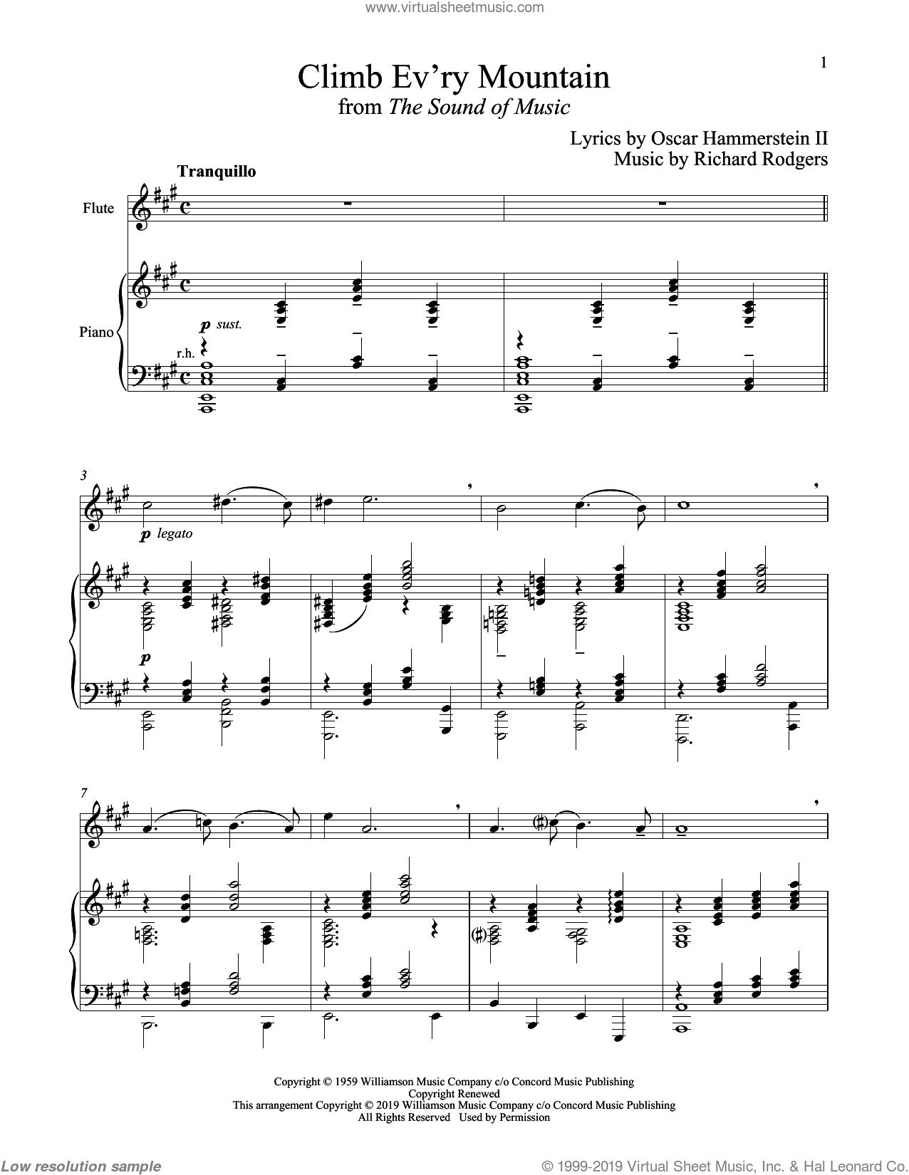 Climb Ev'ry Mountain (from The Sound of Music) sheet music for flute and piano by Richard Rodgers, Oscar II Hammerstein and Rodgers & Hammerstein, intermediate skill level