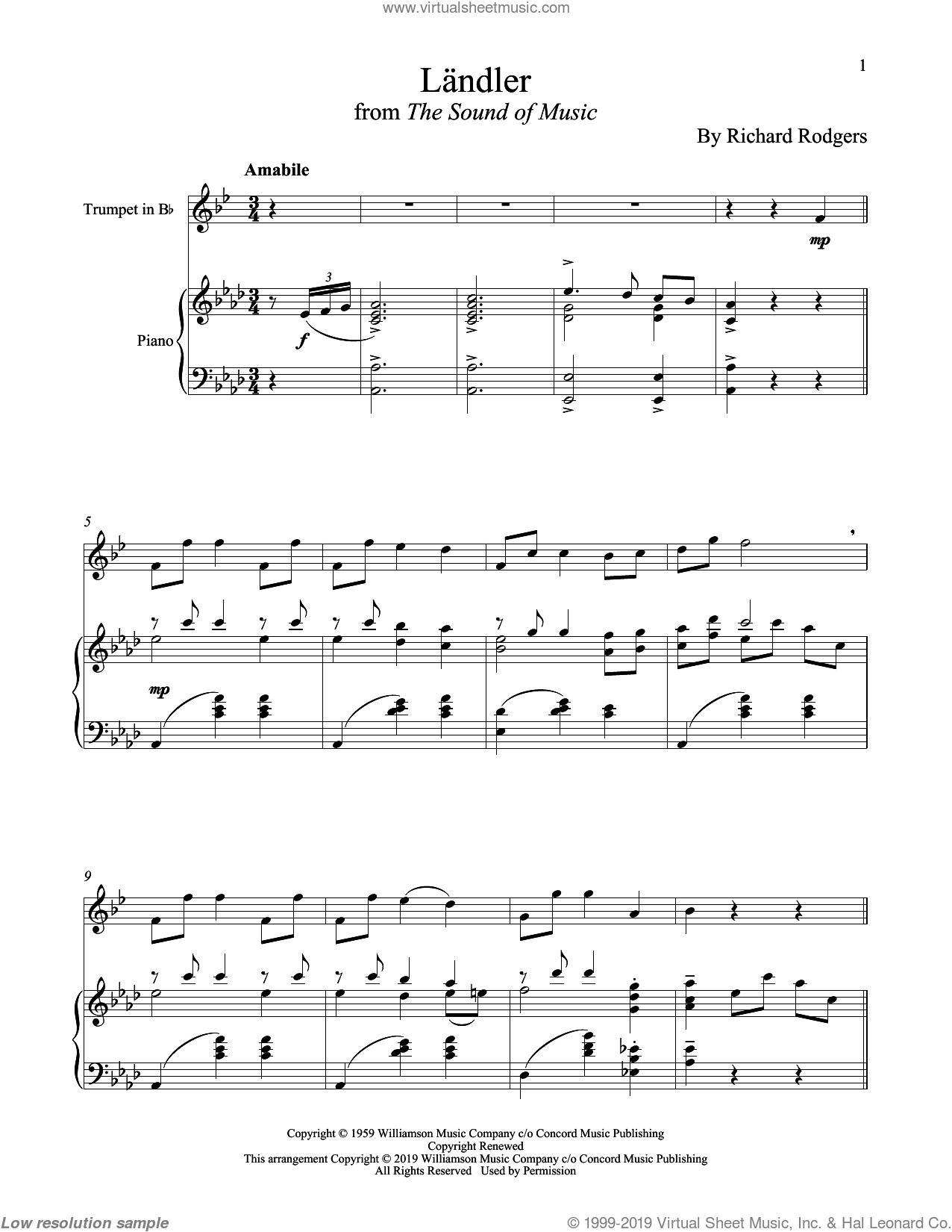 Landler (from The Sound of Music) sheet music for trumpet and piano by Richard Rodgers, Oscar II Hammerstein and Rodgers & Hammerstein, intermediate skill level