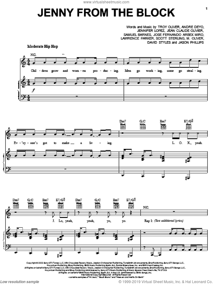 Jenny From The Block sheet music for voice, piano or guitar by Troy Oliver