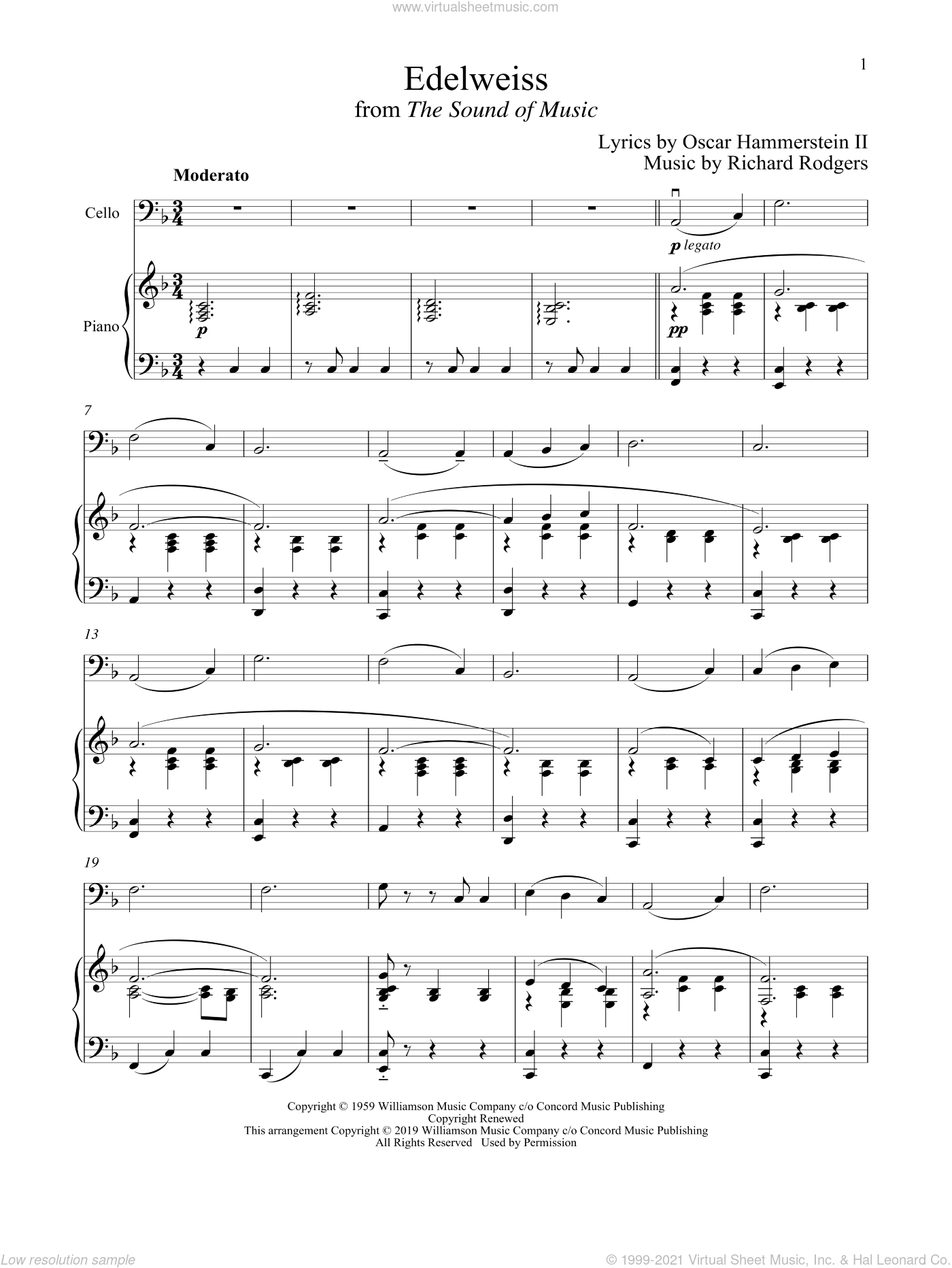 Edelweiss (from The Sound of Music) sheet music for cello and piano by Richard Rodgers, Oscar II Hammerstein and Rodgers & Hammerstein, intermediate skill level