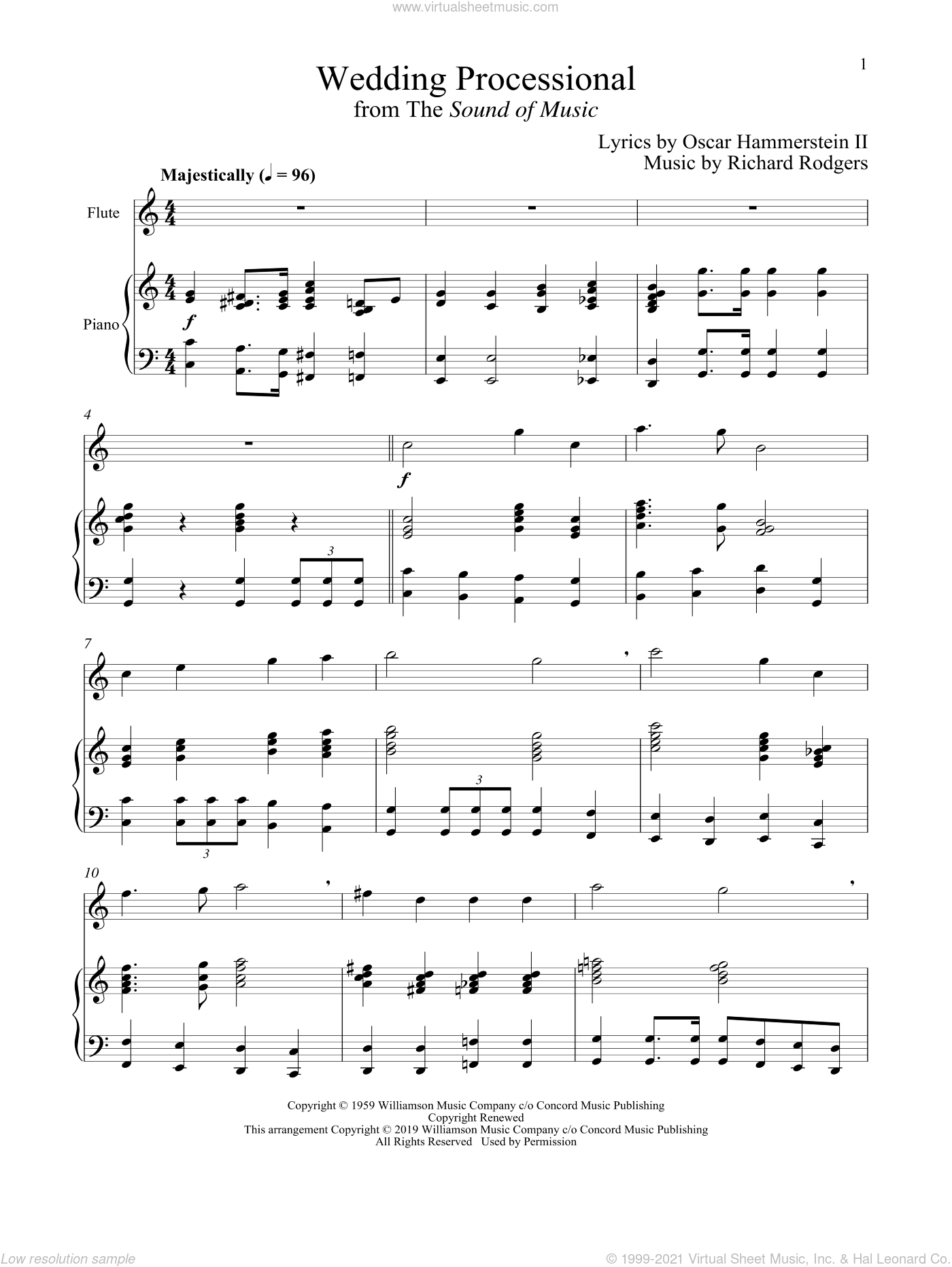 Wedding Processional (from The Sound of Music) sheet music for flute and piano by Richard Rodgers, Oscar II Hammerstein and Rodgers & Hammerstein, wedding score, intermediate skill level