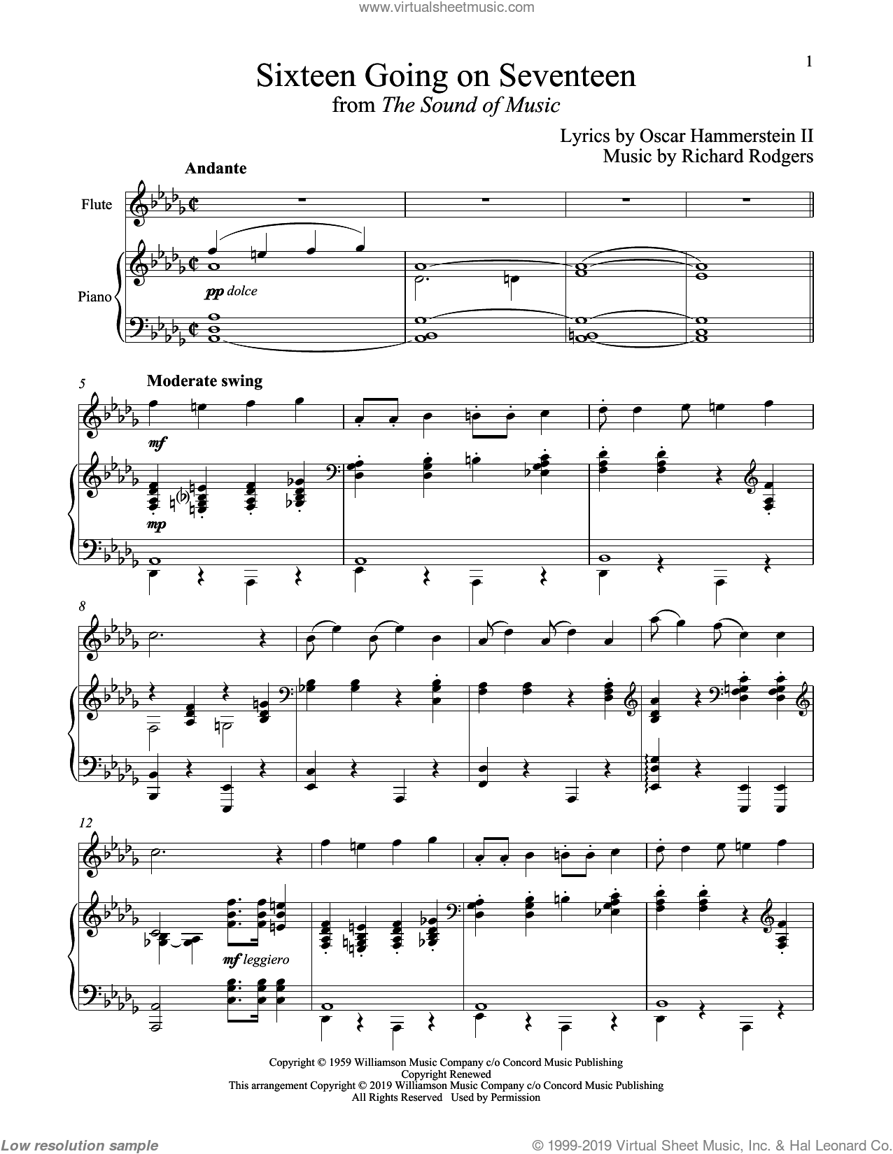 Sixteen Going On Seventeen (from The Sound of Music) sheet music for flute and piano by Richard Rodgers, Oscar II Hammerstein and Rodgers & Hammerstein, intermediate skill level