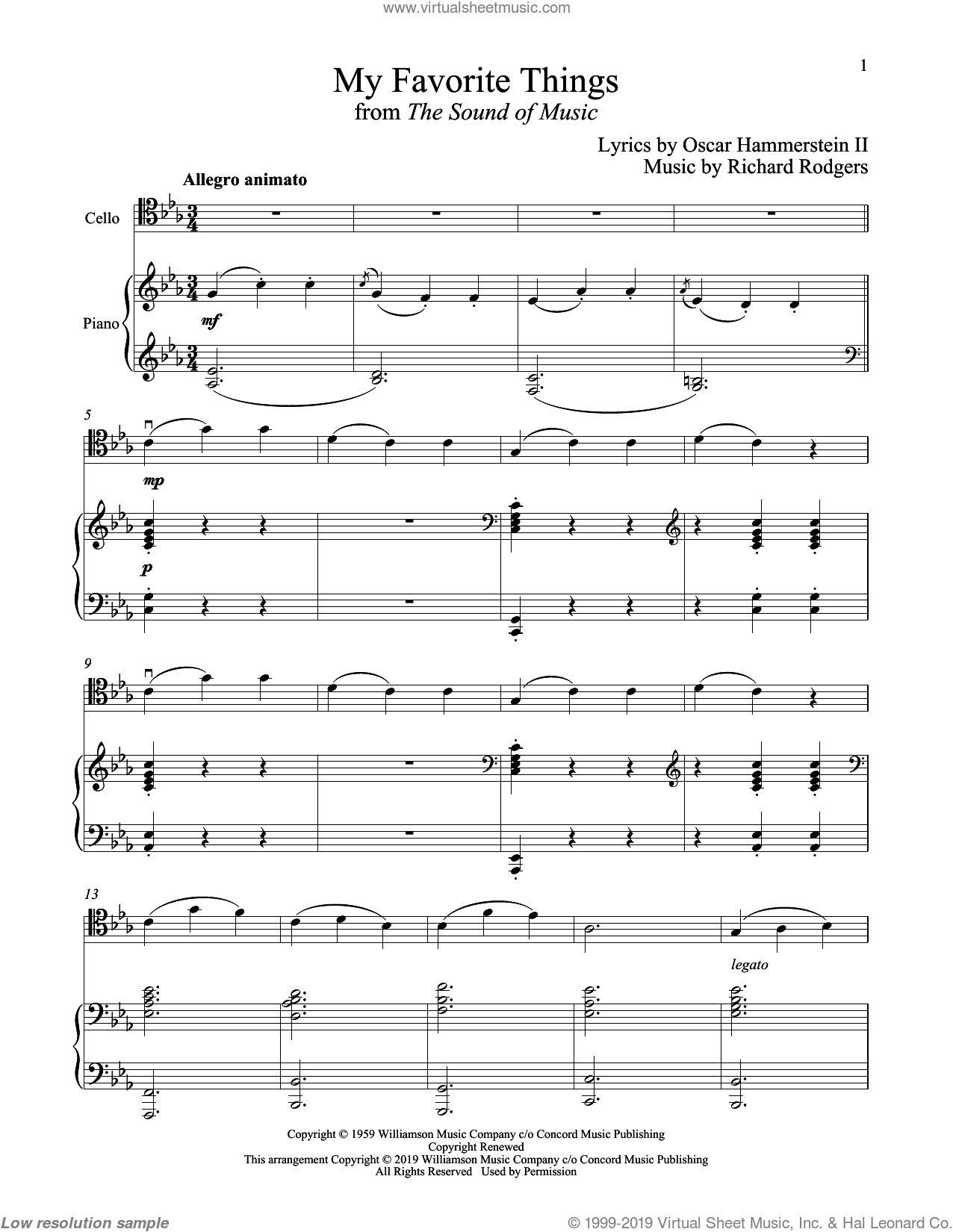 My Favorite Things (from The Sound of Music) sheet music for cello and piano by Richard Rodgers, Oscar II Hammerstein and Rodgers & Hammerstein, intermediate skill level