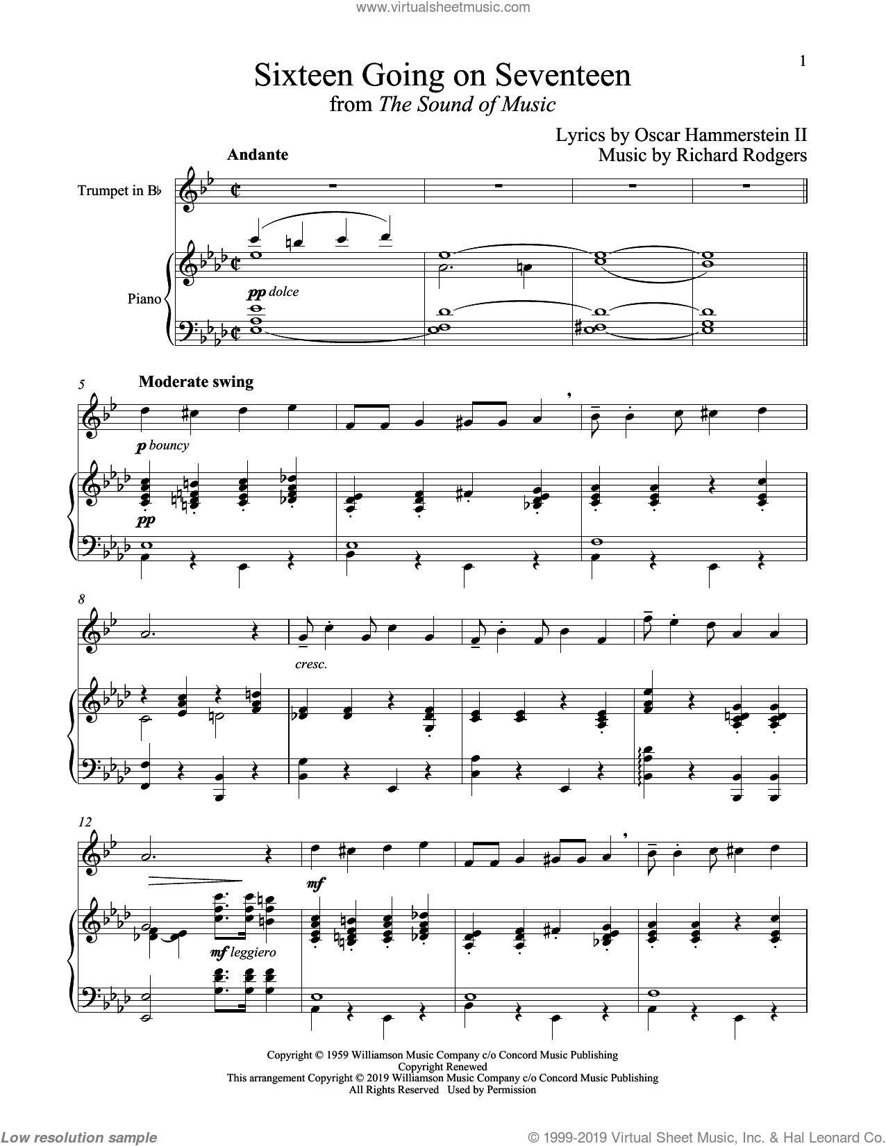 Sixteen Going On Seventeen (from The Sound of Music) sheet music for trumpet and piano by Richard Rodgers, Oscar II Hammerstein and Rodgers & Hammerstein, intermediate skill level