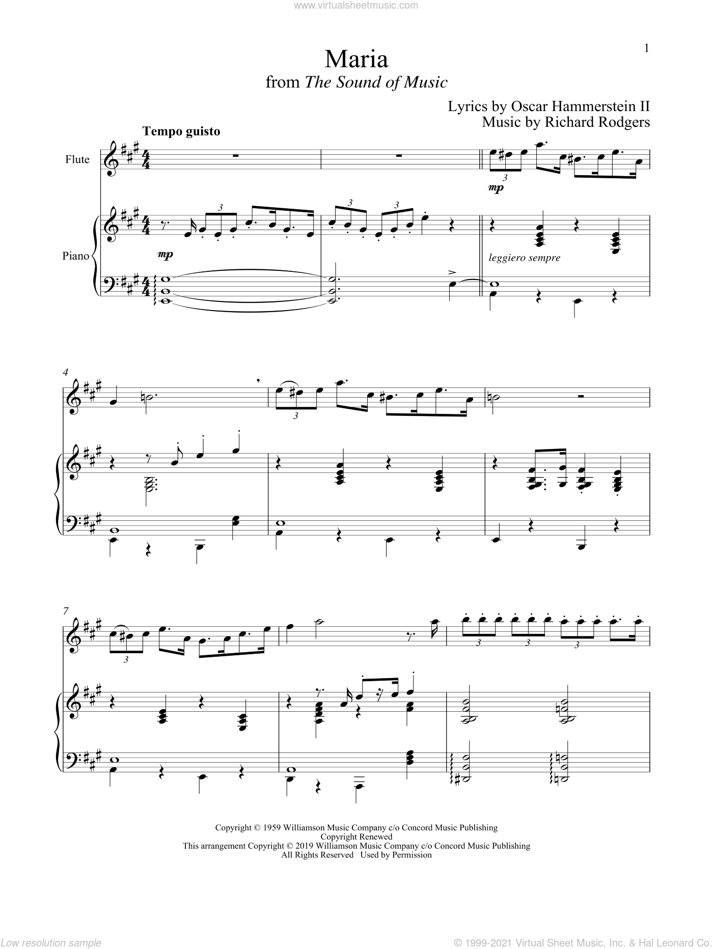 Maria (from The Sound of Music) sheet music for flute and piano by Richard Rodgers, Oscar II Hammerstein and Rodgers & Hammerstein, intermediate skill level
