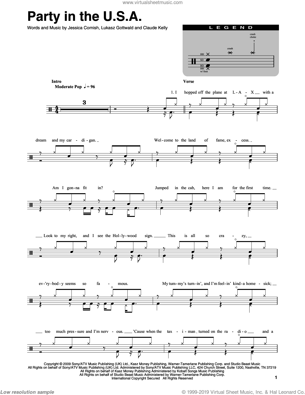Party In The U.S.A. sheet music for drums by Miley Cyrus, Claude Kelly, Jessica Cornish and Lukasz Gottwald, intermediate skill level
