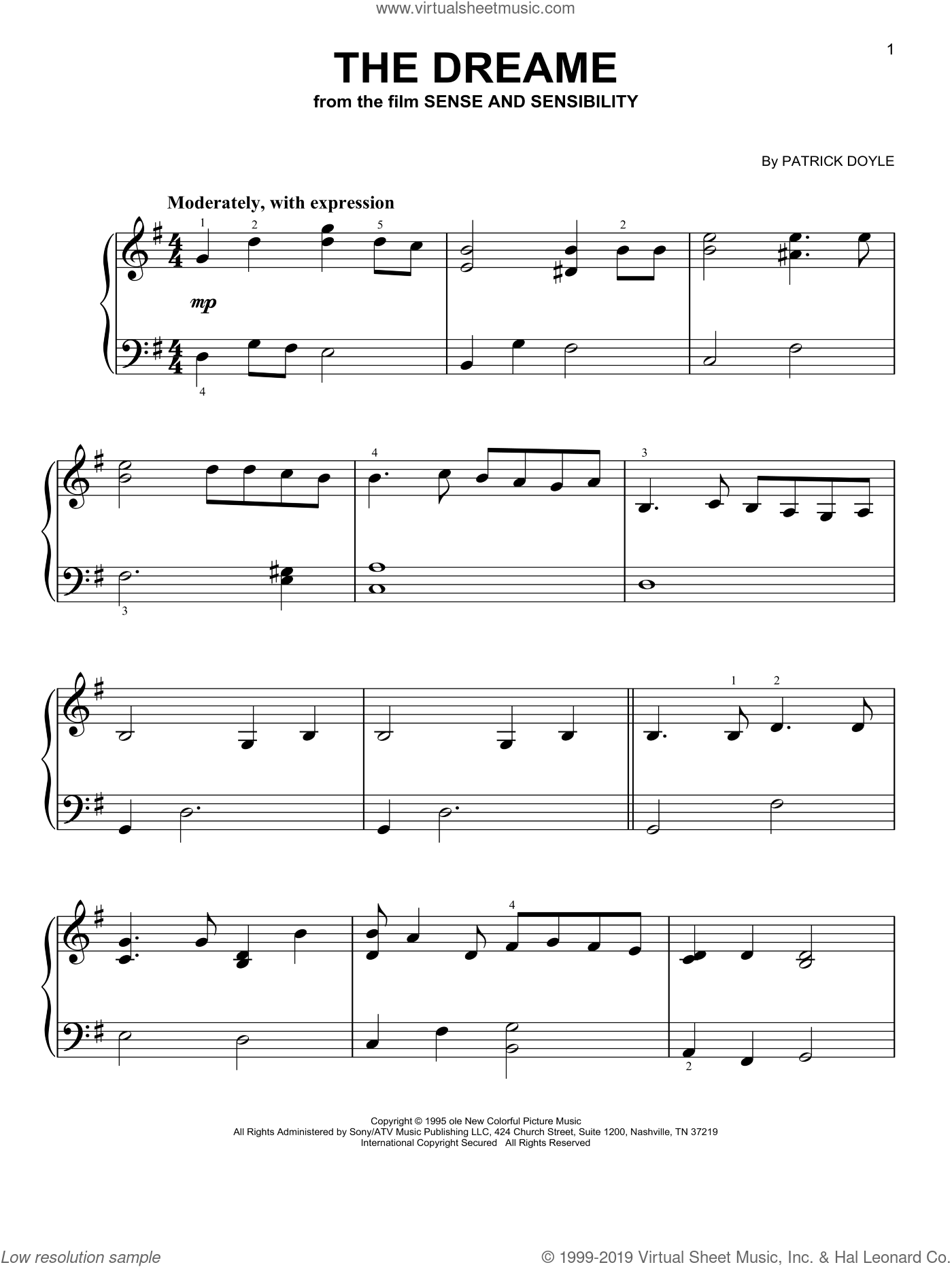 The Dreame (from Sense and Sensibility) sheet music for piano solo by Patrick Doyle, beginner skill level