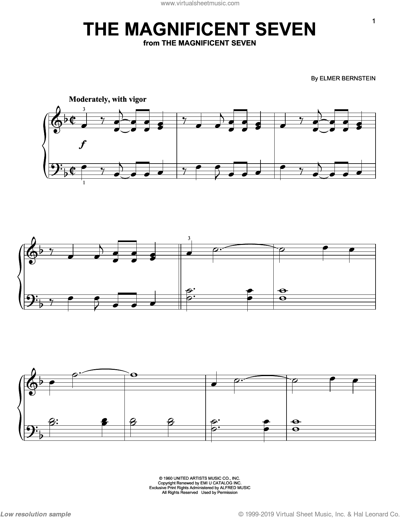 The Magnificent Seven sheet music for piano solo by Elmer Bernstein, classical score, beginner skill level