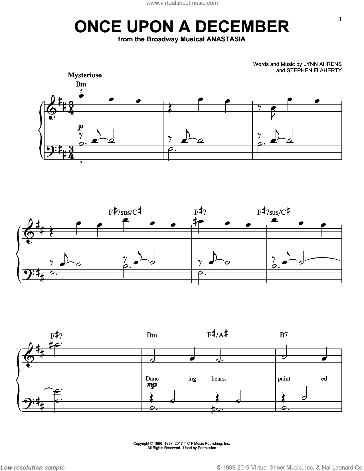 Once Upon A December (from Anastasia) sheet music for piano solo by Stephen Flaherty and Lynn Ahrens, beginner skill level
