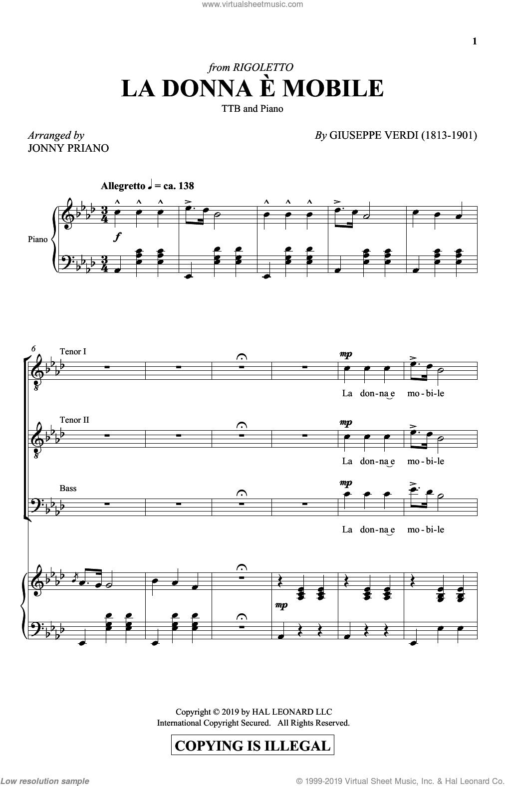 La Donna E Mobile (arr. Jonny Priano) sheet music for choir (TTBB: tenor, bass) by Giuseppe Verdi and Jonny Priano, intermediate skill level