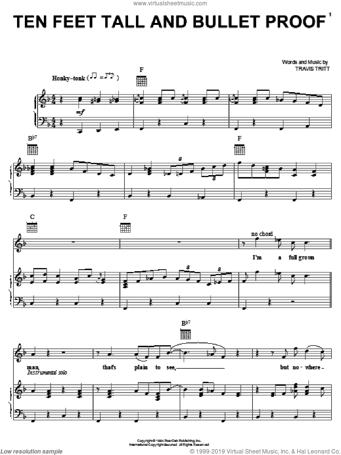 Ten Feet Tall And Bullet Proof sheet music for voice, piano or guitar by Travis Tritt. Score Image Preview.