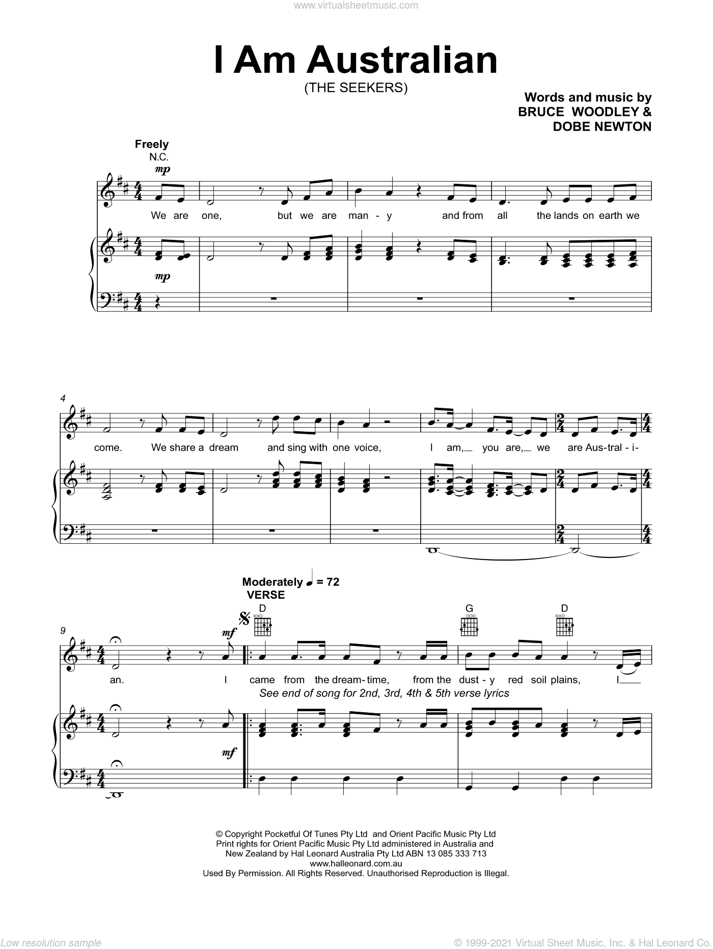 I Am Australian sheet music for voice, piano or guitar by The Seekers, Bruce Woodley and Dobe Newton, intermediate skill level